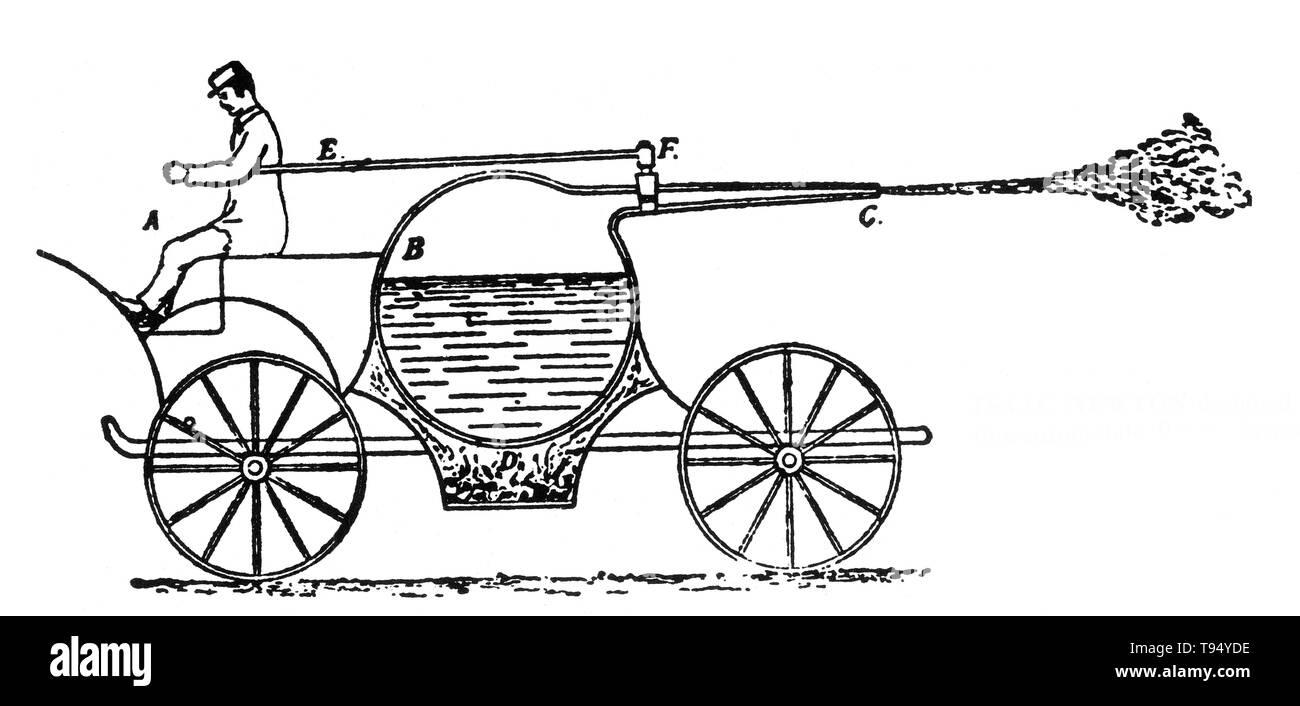 Dampfgetriebenen Fahrzeug von Gravesande, 1720 konzipiert. Willem Jacob's Gravesande (September 26, 1688 - 28. Februar 1742) war ein niederländischer Jurist und Philosoph, für die Entwicklung von experimentellen Demonstrationen von den Gesetzen der klassischen Mechanik erinnert. Stockbild