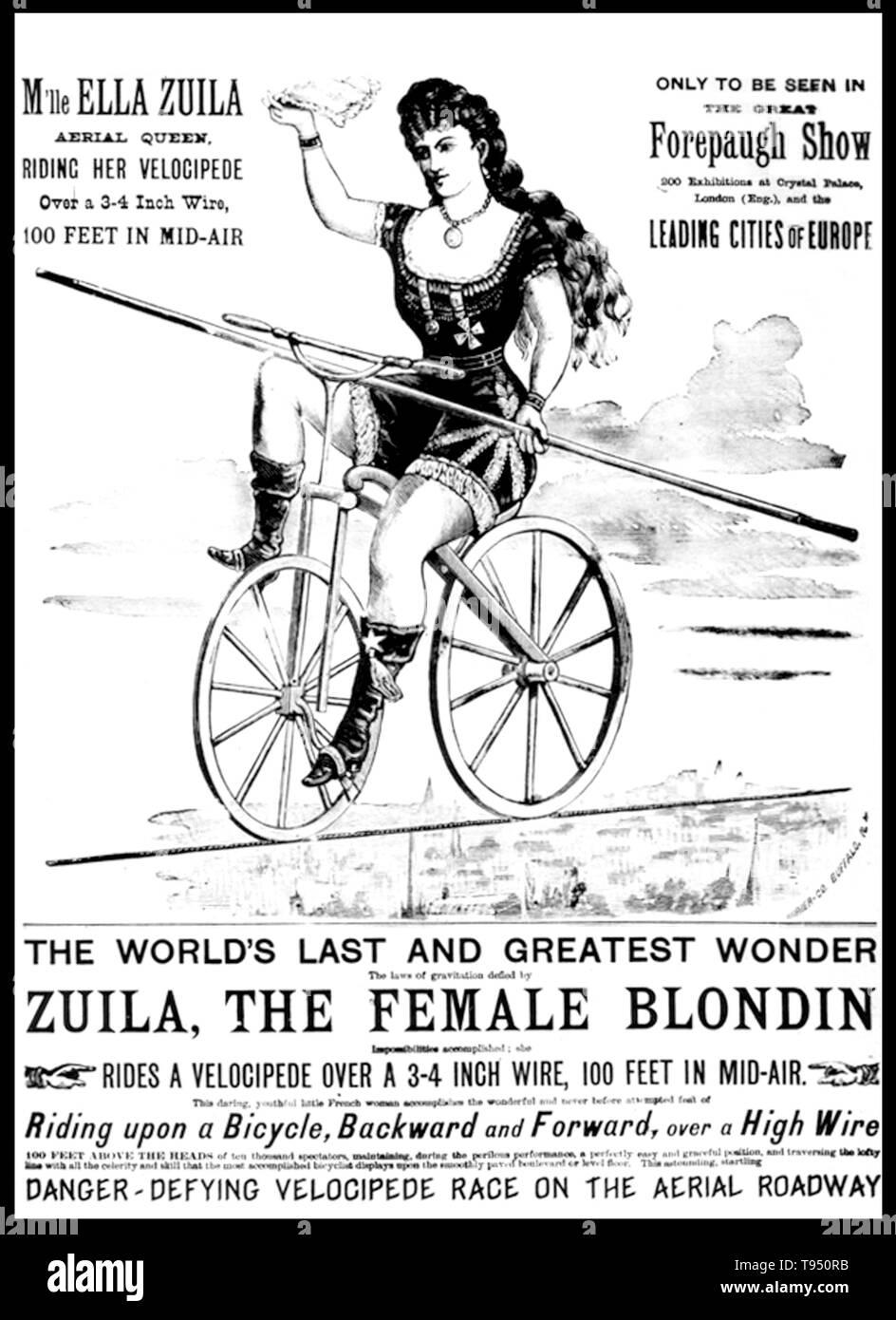 Ella Zuila (gestorben 1926) war der berühmteste Australische öffentlichkeit Entertainer ihrer Zeit. Ella nicht nur die Kabel laufen; sie durchlaufen; Rädern ein Kind über Sie in einem Barrow; ging es in Stelzen und mit einem vollen Körper Augenbinde, und auf einer denkwürdigen Anlass, von den Knien hing ihr gefeuert - heraus zu fangen-von-ein-Kanone Ehemann, George Royal. Ihre Karriere ein tragisches Ende in Dublin am 26. August 1904, als sie und ihr Dreirad fiel von der High Wire im runden Raum der Rotunde. Es gab kein Sicherheitsnetz, und sie war zu schlecht jemals verletzt erneut ausführen. Sie starb im Jahre 1926. Stockfoto