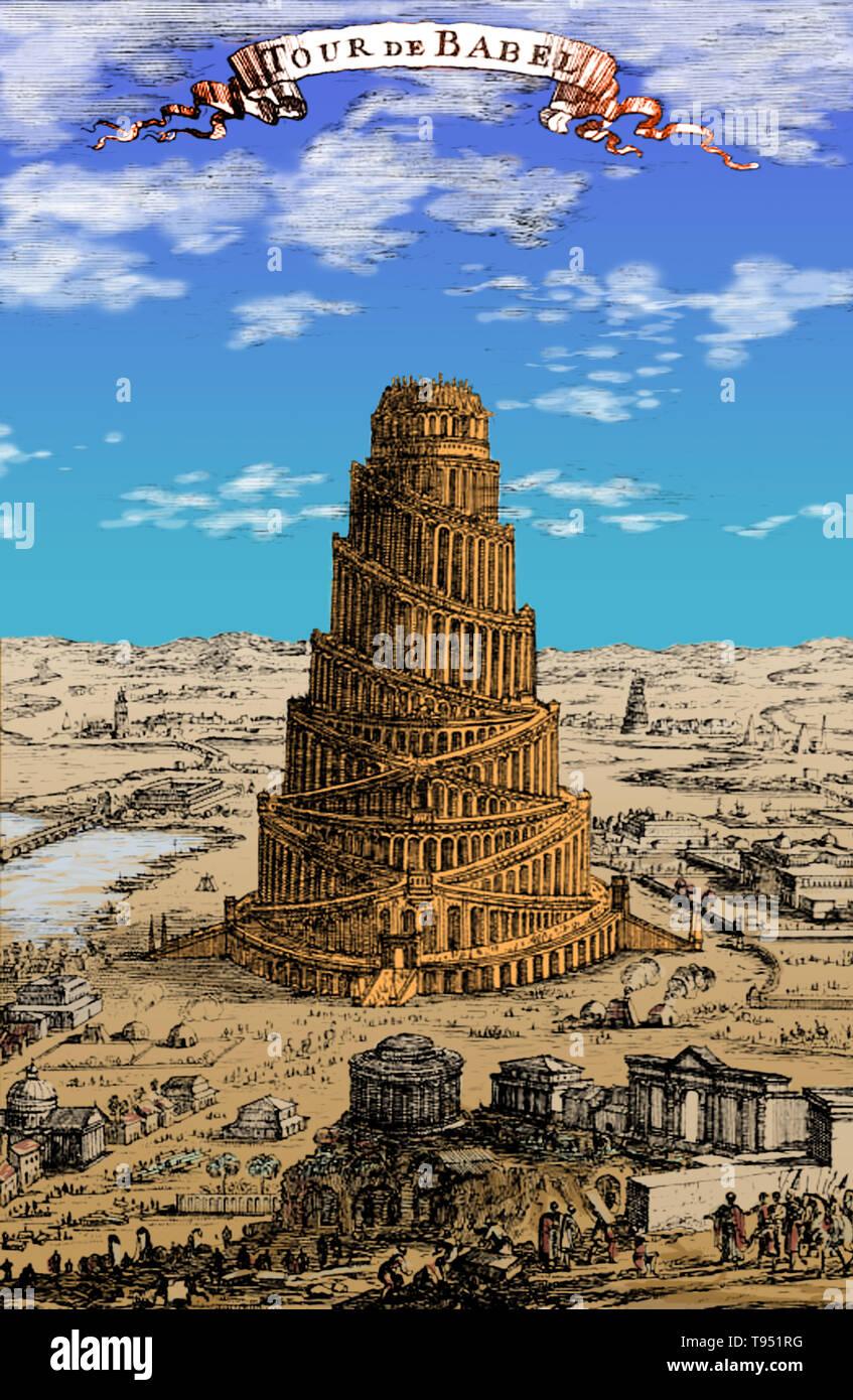 Turm von Babel Kupferstich von Rigobert (1630-1706), ein französischer Kartograph und Ingenieur. Seine Beschreibung de L'Universum enthält eine Vielzahl von Informationen, einschließlich Star Maps, Karten der alten und der modernen Welt, und ein Überblick über die Sitten und Gebräuche, Religion und Regierung der vielen Nationen in seinem Text enthalten. Nach dem Volk der Erde zu Genesis einen Turm in den Himmel zu Maßstab gebaut. Stockfoto