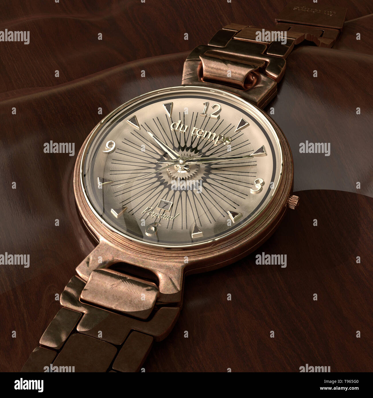 Bild von Vintage watch auf Holz Oberfläche Stockbild