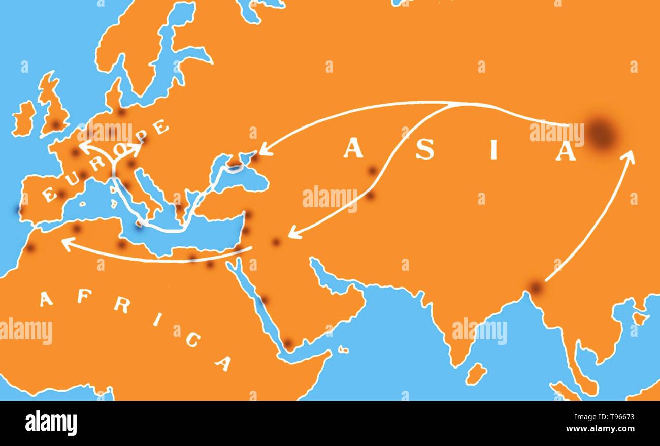 Karte zeigt die Verbreitung des schwarzen Todes im 14. Jahrhundert von Asien über den Nahen Osten, Westeuropa und Nordafrika. Bereichen größere Ausbrüche sind in Schwarz angezeigt. Die beulenpest war eine der verheerendsten Pandemien in der Geschichte der Menschen, in den Tod von schätzungsweise 75 bis 200 Millionen Menschen in Eurasien im 14. Jahrhundert führt. Das Bakterium Yersinia pestis, die Ergebnisse in verschiedenen Formen der Pest, wird gedacht, um die Ursache zu haben. Stockfoto