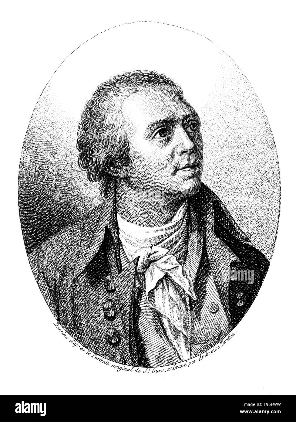 Horace-Bénédict de Saussure (Februar 17, 1740 - Januar 22, 1799) war ein Genfer Geologen, Meteorologe, Physiker, Bergsteiger und Alpin Explorer, der oft auch als Gründer des Alpinismus und des modernen Meteorologie. Er untersucht die Neigung der Schichten, der Art der Gesteine, Fossilien und Mineralien der Alpen. Stockfoto