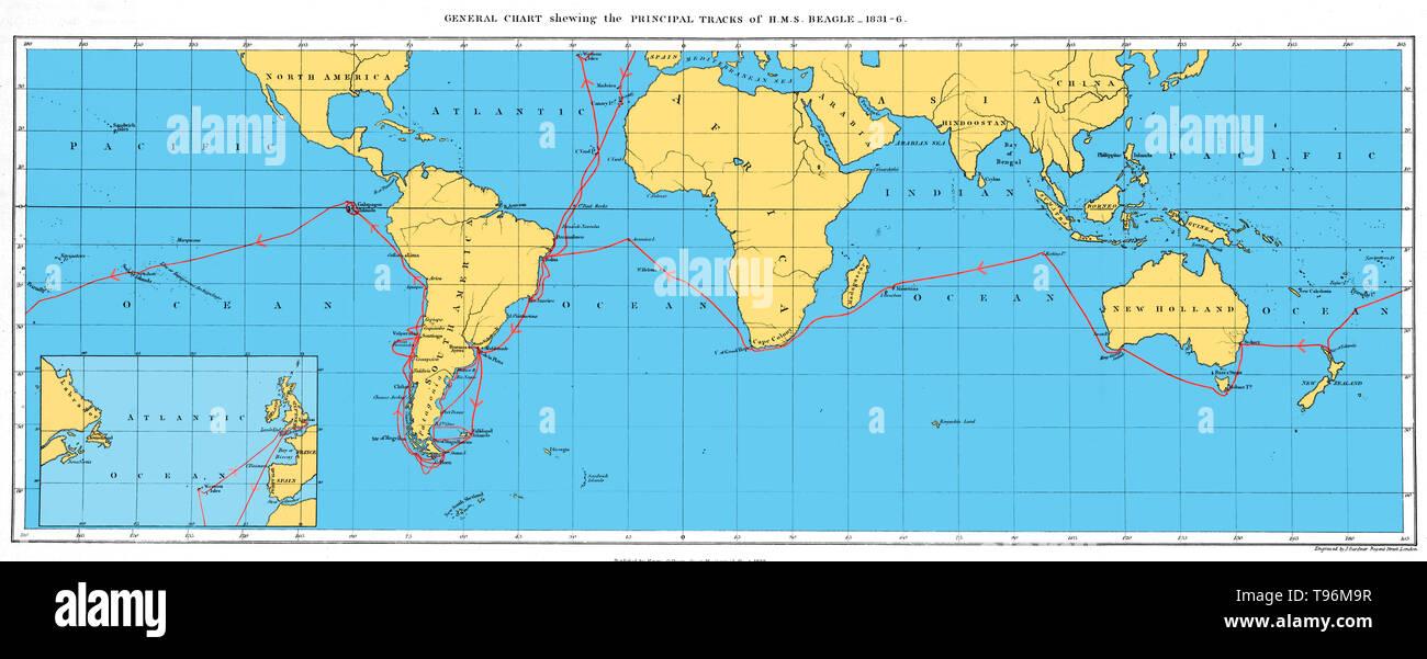 Karte Dokumentation die Reise der H.M.S. Beagle, 1831-36. Die Beagle durchgeführt Charles Darwin während der Reise, die seine Theorie der Entwicklung inspiriert. Charles Darwin (1809-1882) war ein englischer Naturforscher und Geologe. Stockbild