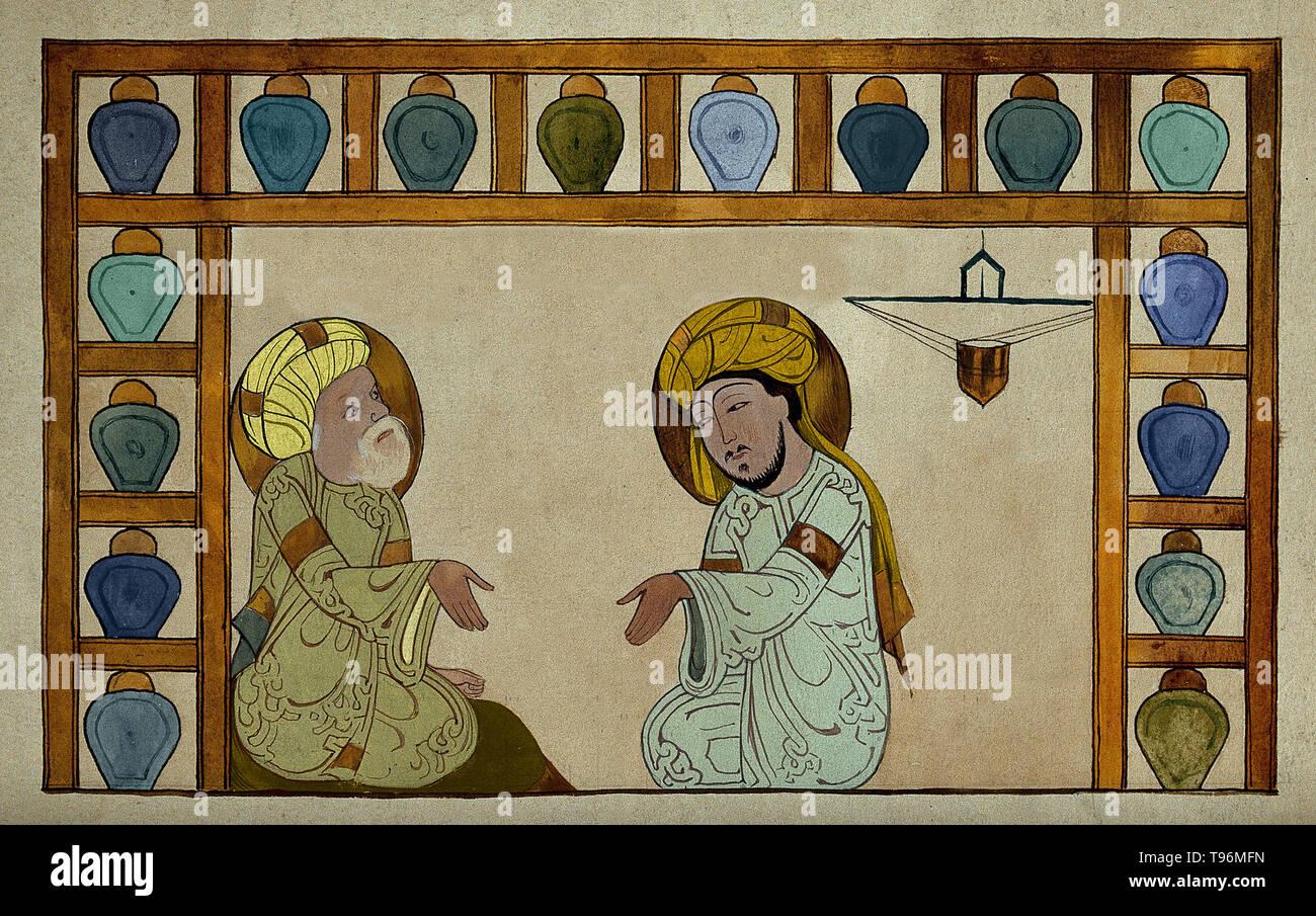 Abu 'Ali al-Husain ibn 'Abd Allah ibn Sina (980-1037), allgemein bekannt als Ibn Sina oder von seinem Latinisierten Namen Avicenna, war ein Persischen Universalgelehrten, der schrieb fast 450 Abhandlungen über eine Vielzahl von Themen, von denen rund 240 überlebt haben. Seine bekanntesten Werke sind das Buch der Heilung, eine große philosophische und wissenschaftliche Enzyklopädie und der Kanon der Medizin, die einen medizinischen Text bei vielen mittelalterlichen Universitäten. Stockfoto