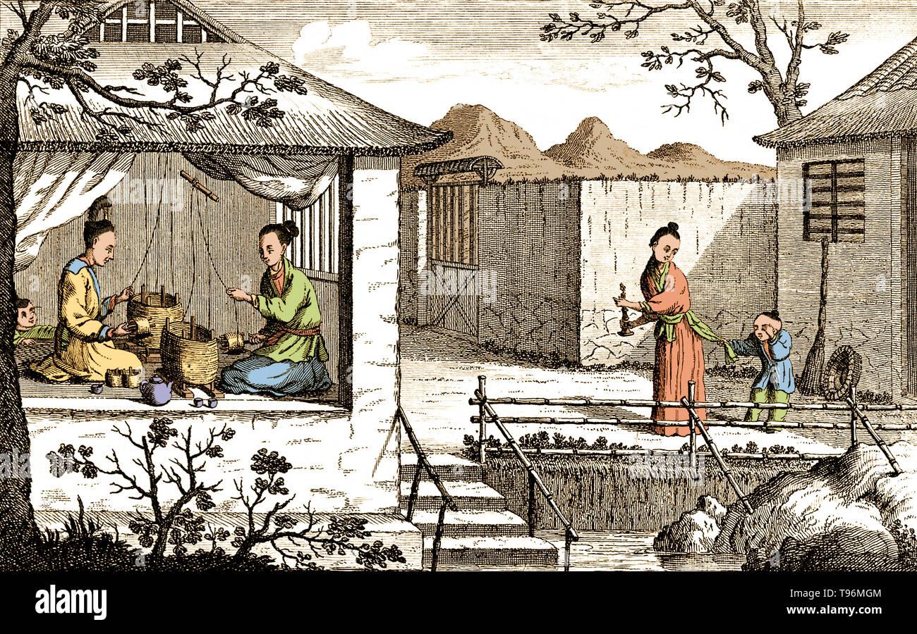 Textilien Silk Herstellung In China Spinnen Die Faden Die Chinesische Kunst Der Verdrehen Seidenfaden Die Produktion