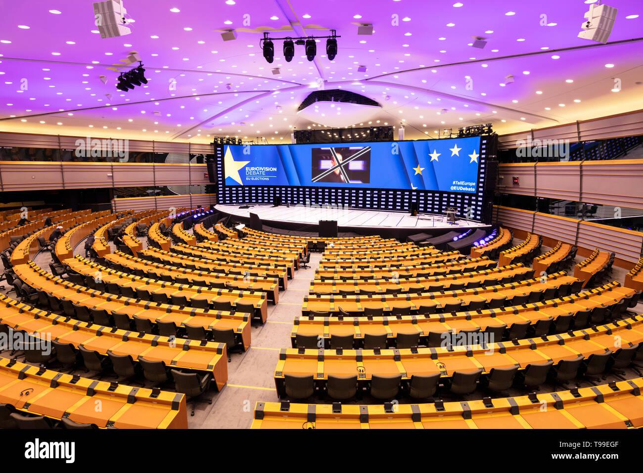 Der Plenarsaal des EU-Parlaments oder innere Kammer, Plenarsaal, der Galerie der Gebäude des Europäischen Parlaments Brüssel Belgien Eu Europa Stockbild