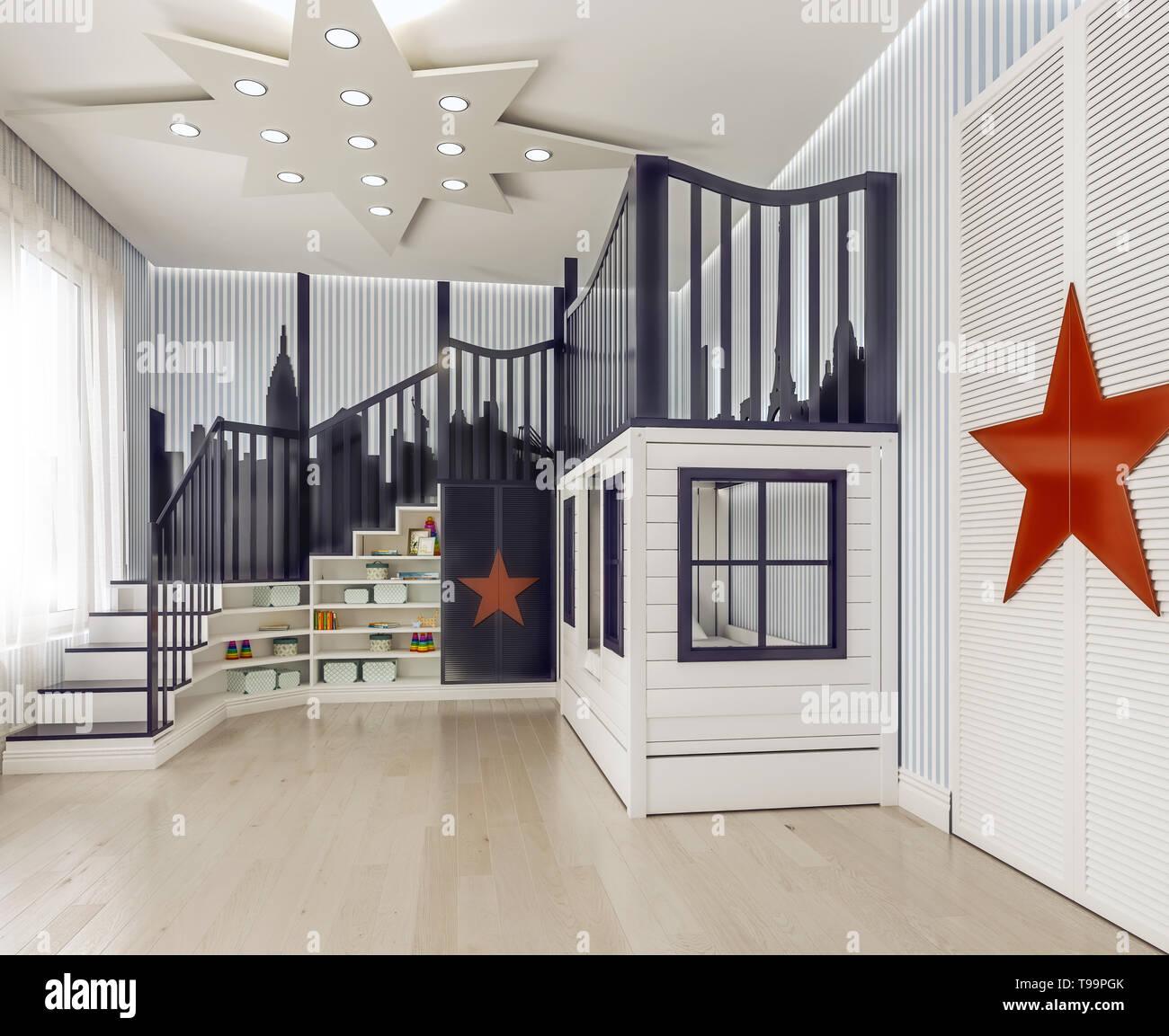 Modernes Interieur Kinder Schlafzimmer, Kinderzimmer ...
