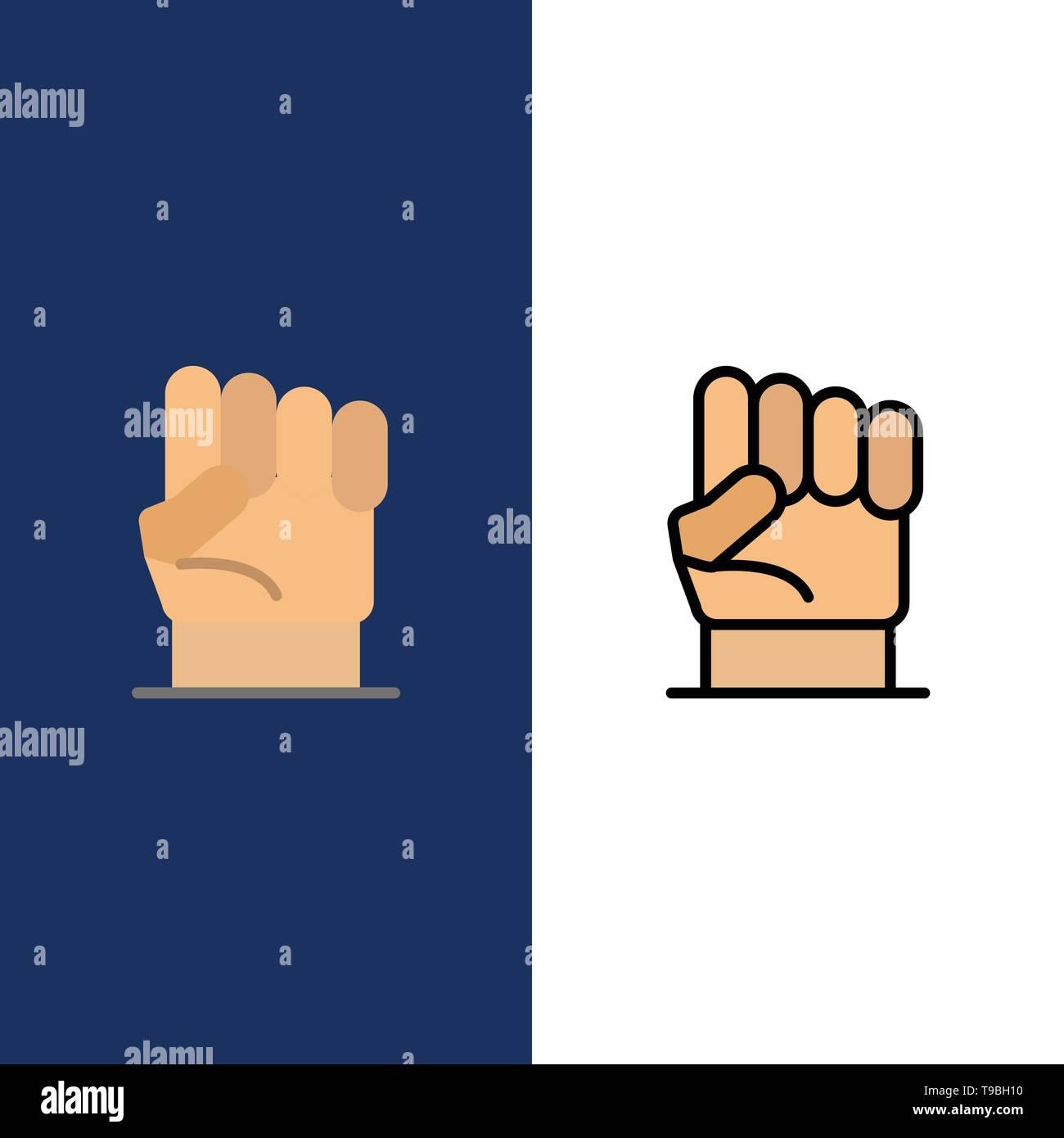 Freiheit Hand Menschliche Kraft Stärke Symbole Flach Und Online