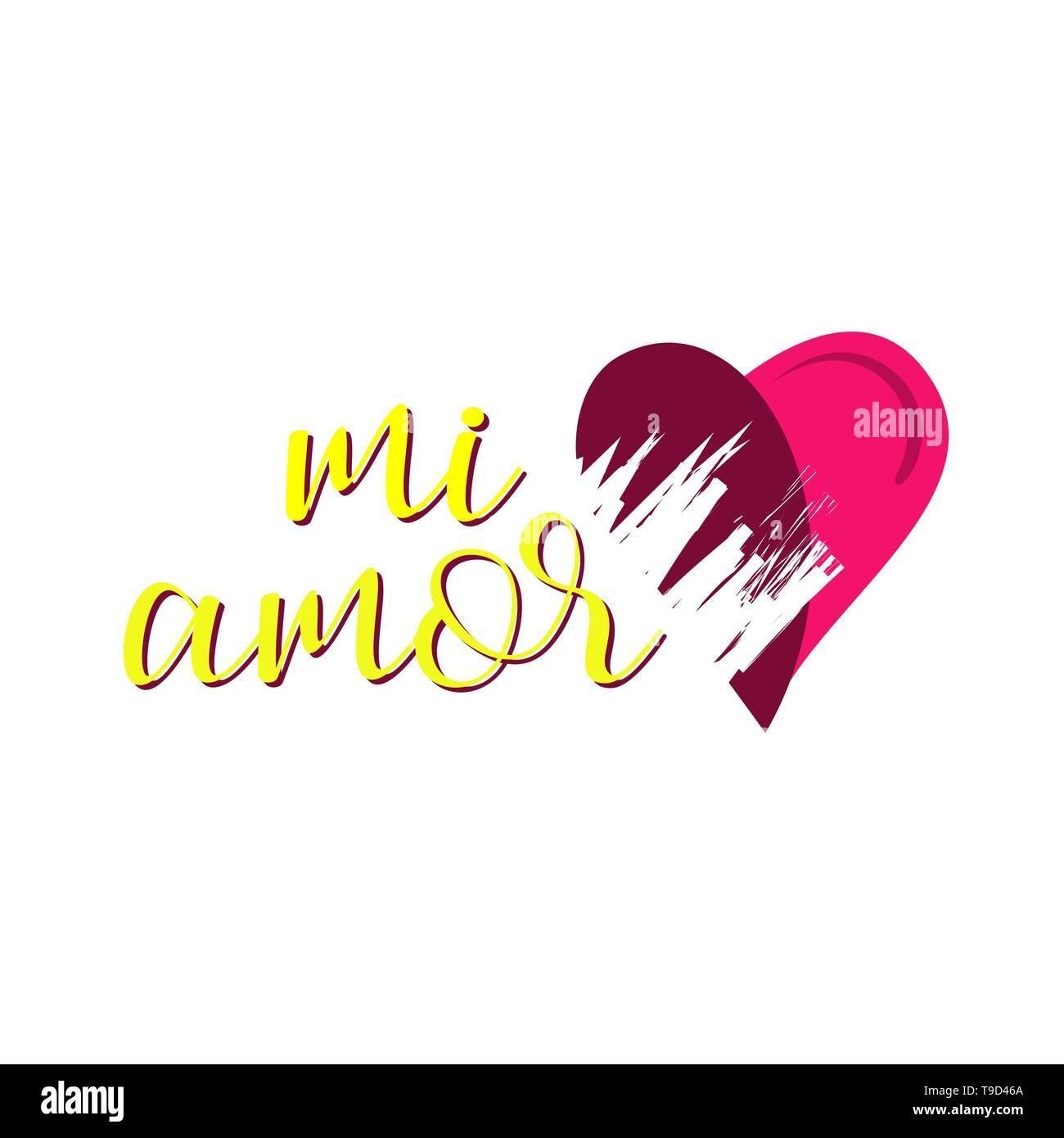 Meine Liebe In Spanisch Vektor Digitale Kalligraphie Mi Amor