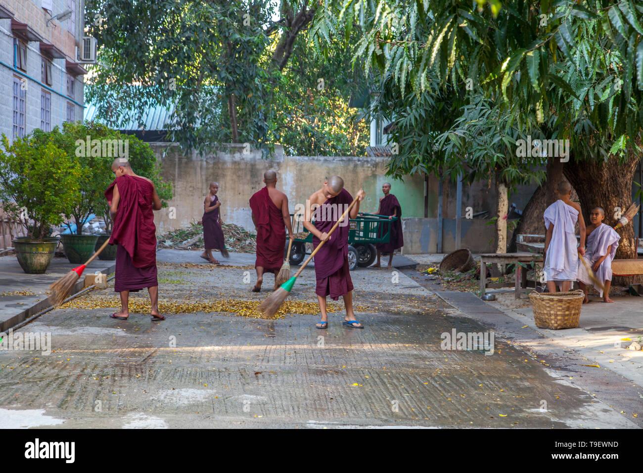 Junge buddhistische Mönche bei der Arbeit in ihrem Kloster in Mandalay Stockbild