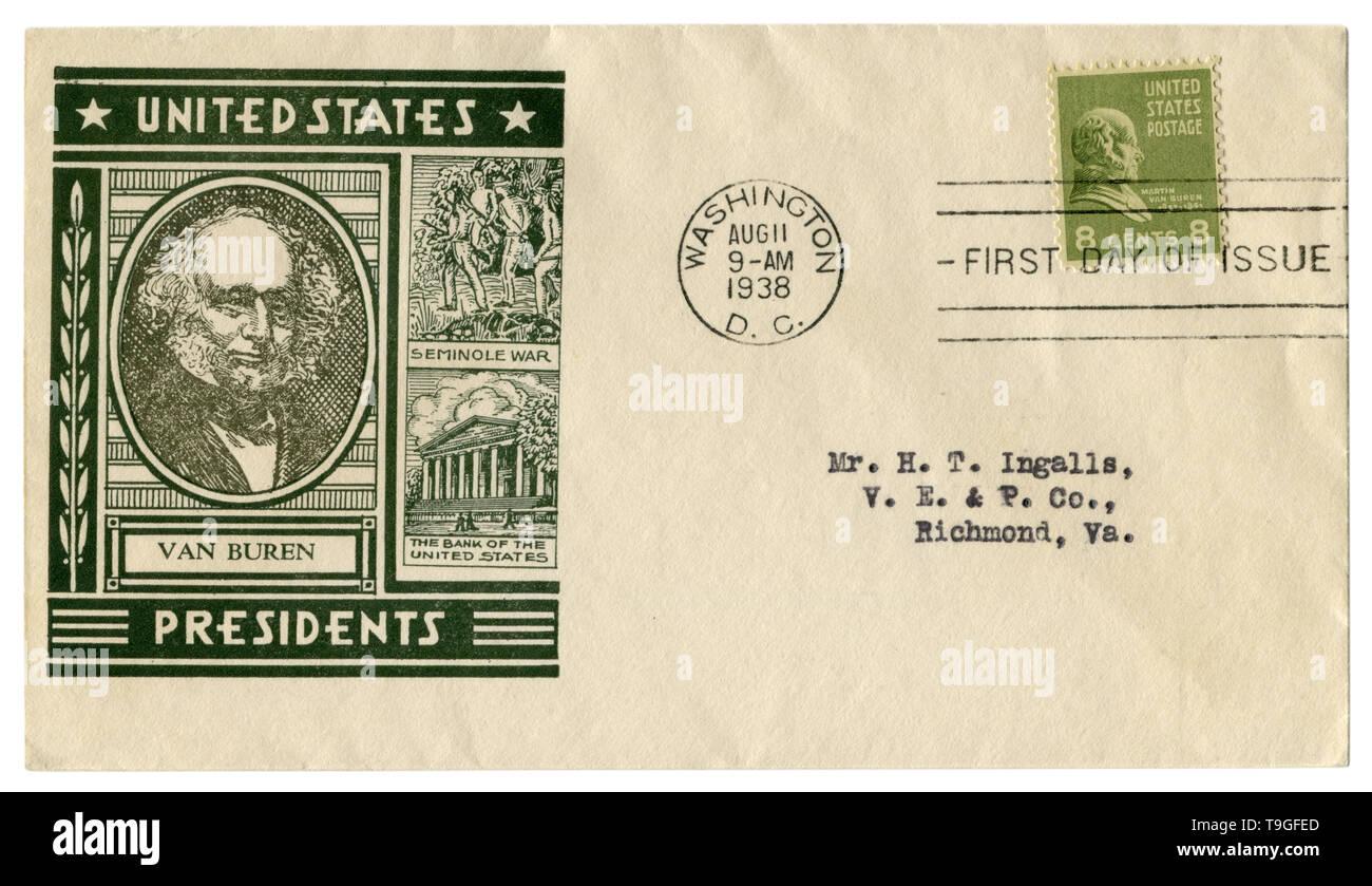 Washington D.C., USA - 11. August 1938: Uns historische Umschlag: Abdeckung mit Gütesiegel Porträt des 8. Präsident Martin Van Buren, grün Briefmarke Stockfoto