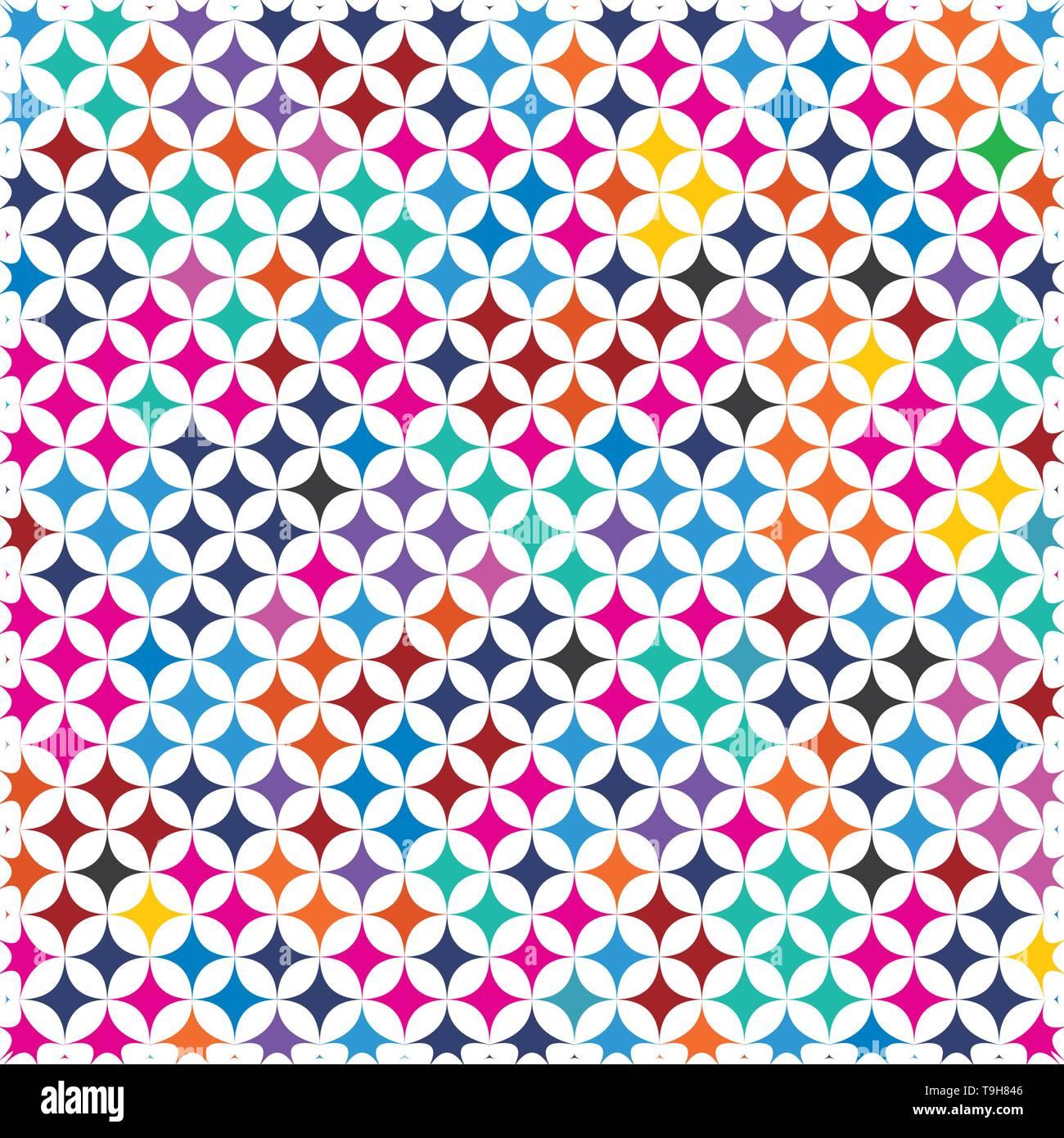 Bunte Retro625 Diamond Form abstrakter Hintergrund Muster Textur. Moderne isolierte Konzept In der Pop Art Farben Spektrum Stock Vektor