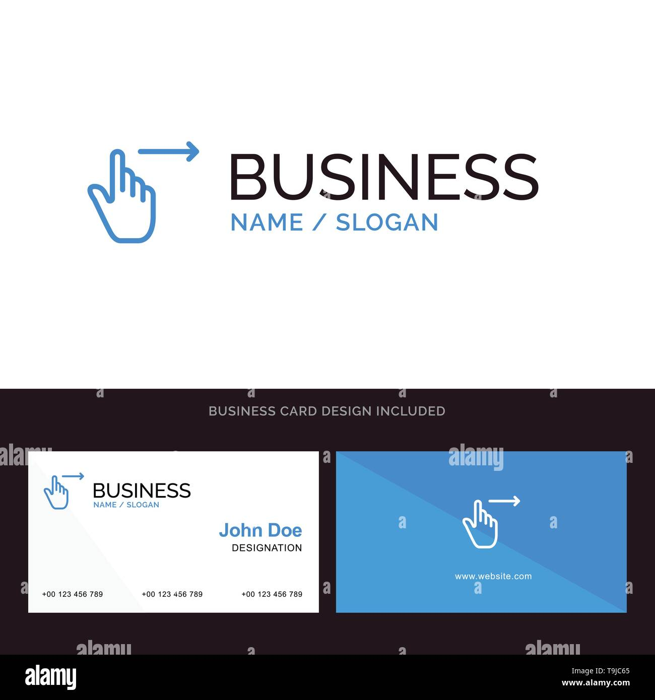 Finger Gesten Rechts Folie Streichen Blue Business Logo