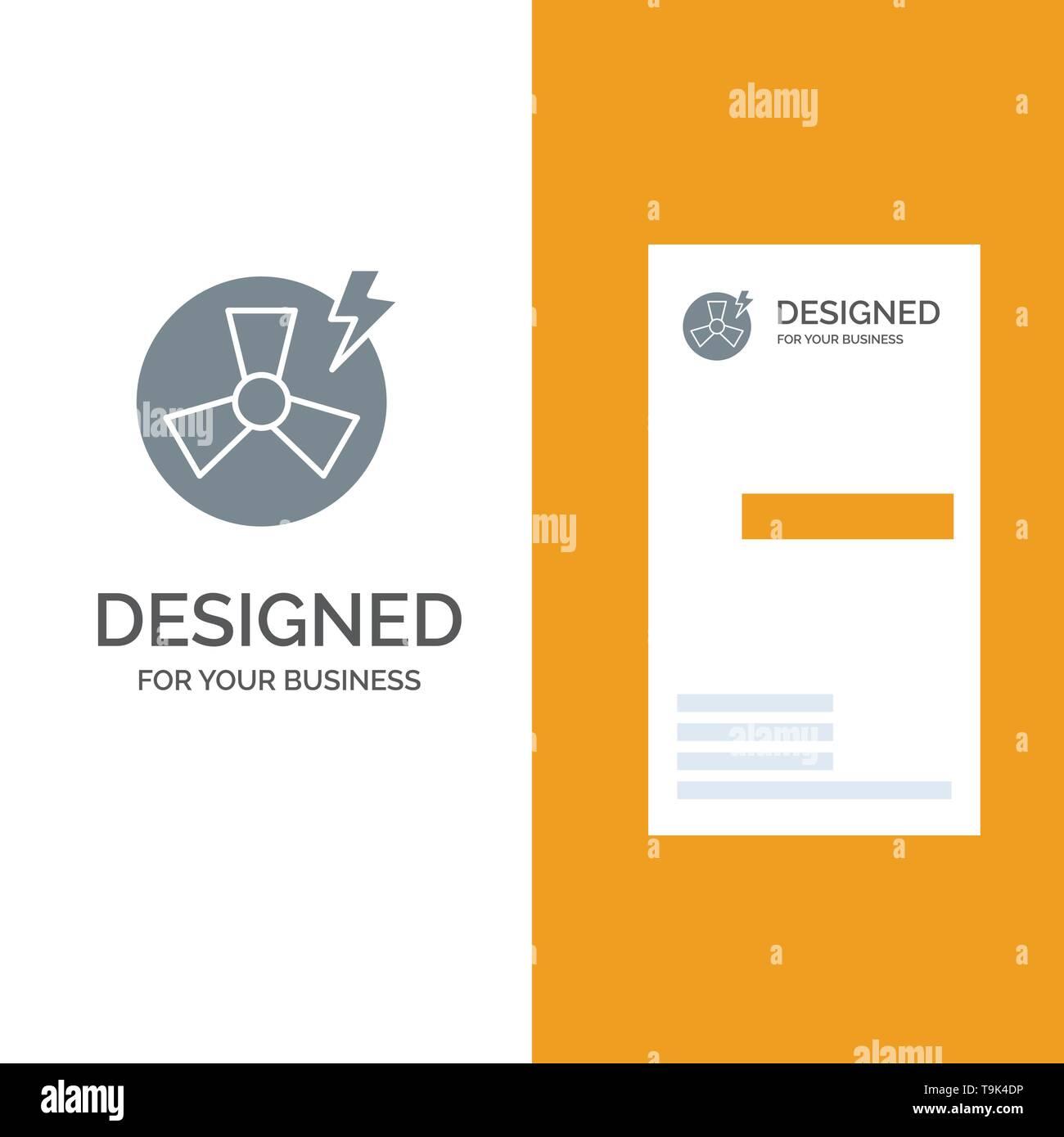Ventilator, Leistung, Energie, Fabrik Grau Logo Design und Business Card Template Stockbild