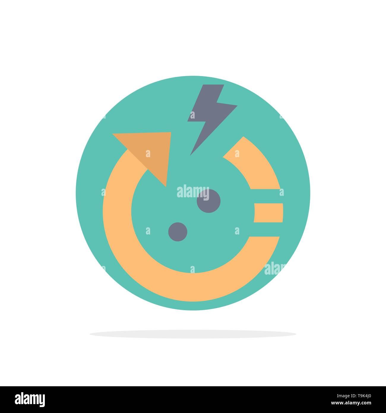 Pfeil, Energie, Sparen, Welt Abstract Kreis Hintergrund flachen Farbe Symbol Stockbild