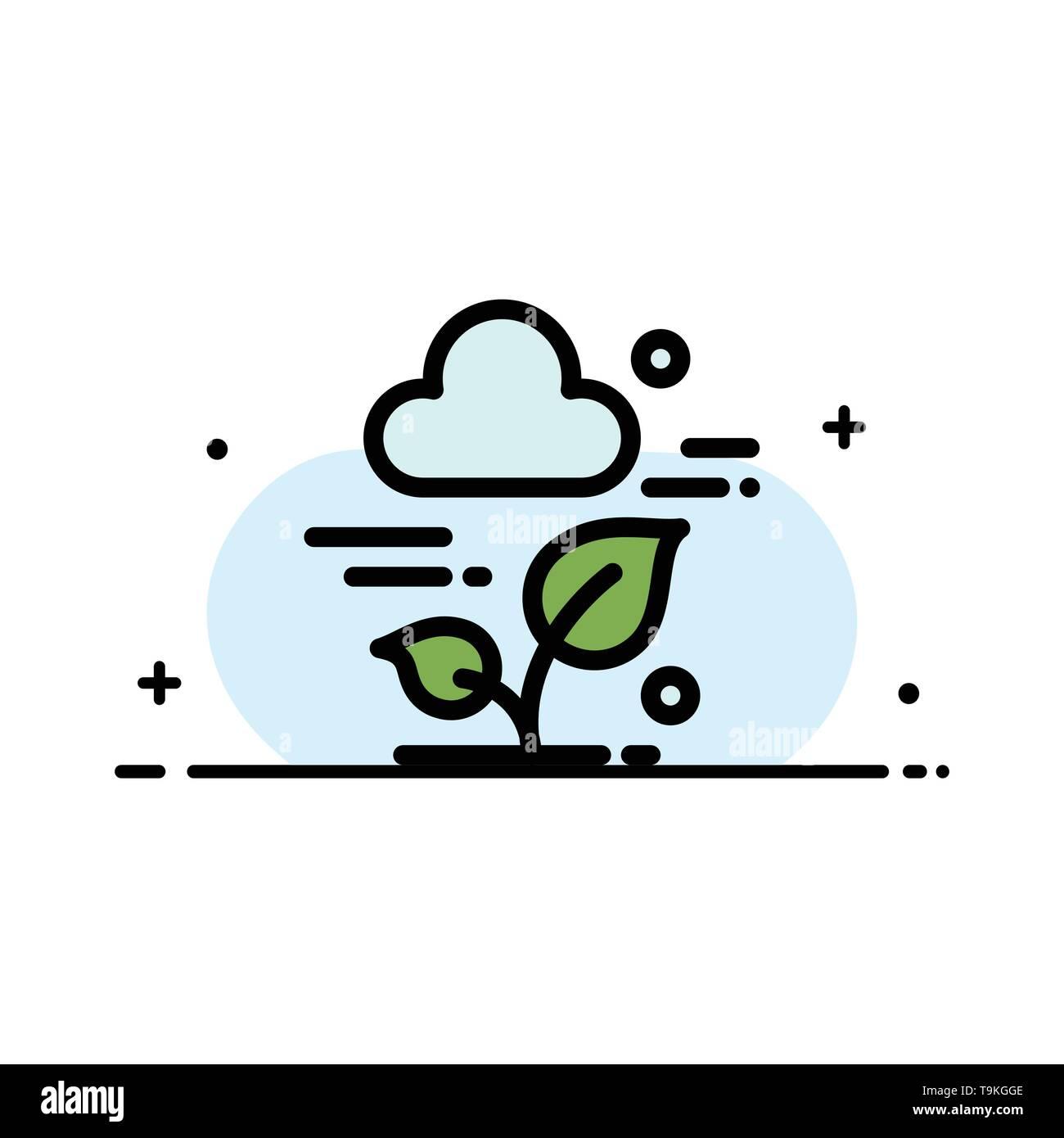 Pflanze, Cloud, Blatt, Technologie Business Flat Line gefüllt Symbol Vektor Banner Vorlage Stockbild