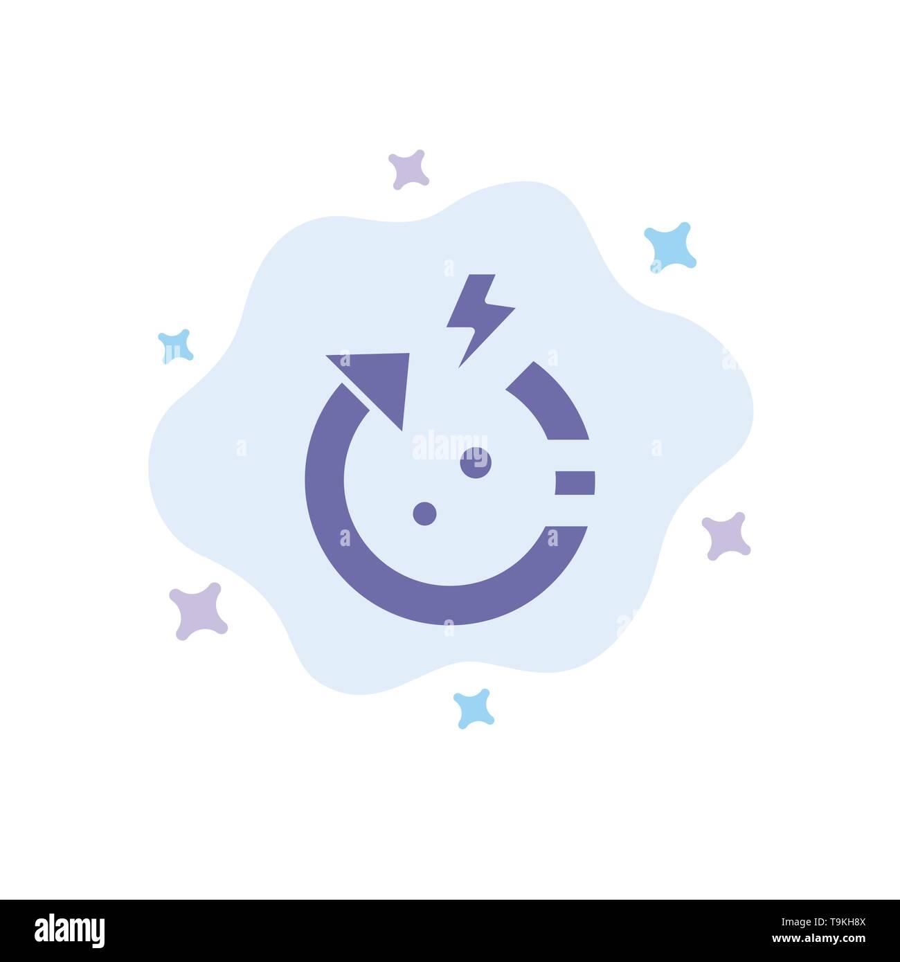 Pfeil, Energie, Sparen, Welt blaues Symbol auf Abstrakten Cloud Hintergrund Stockbild