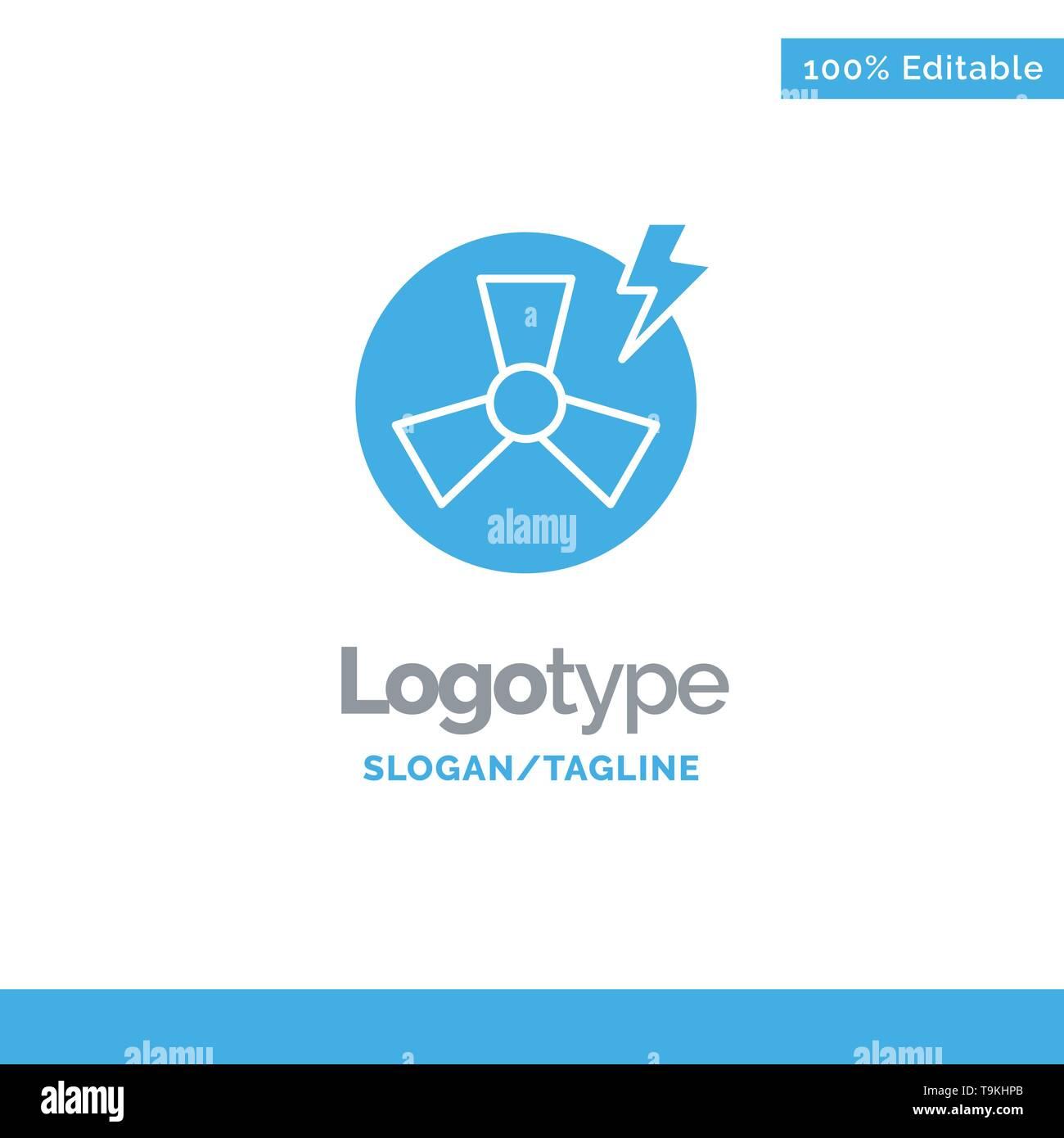Ventilator, Leistung, Energie, Factory Blue Solid Logo Vorlage. Platz für Slogan Stockbild
