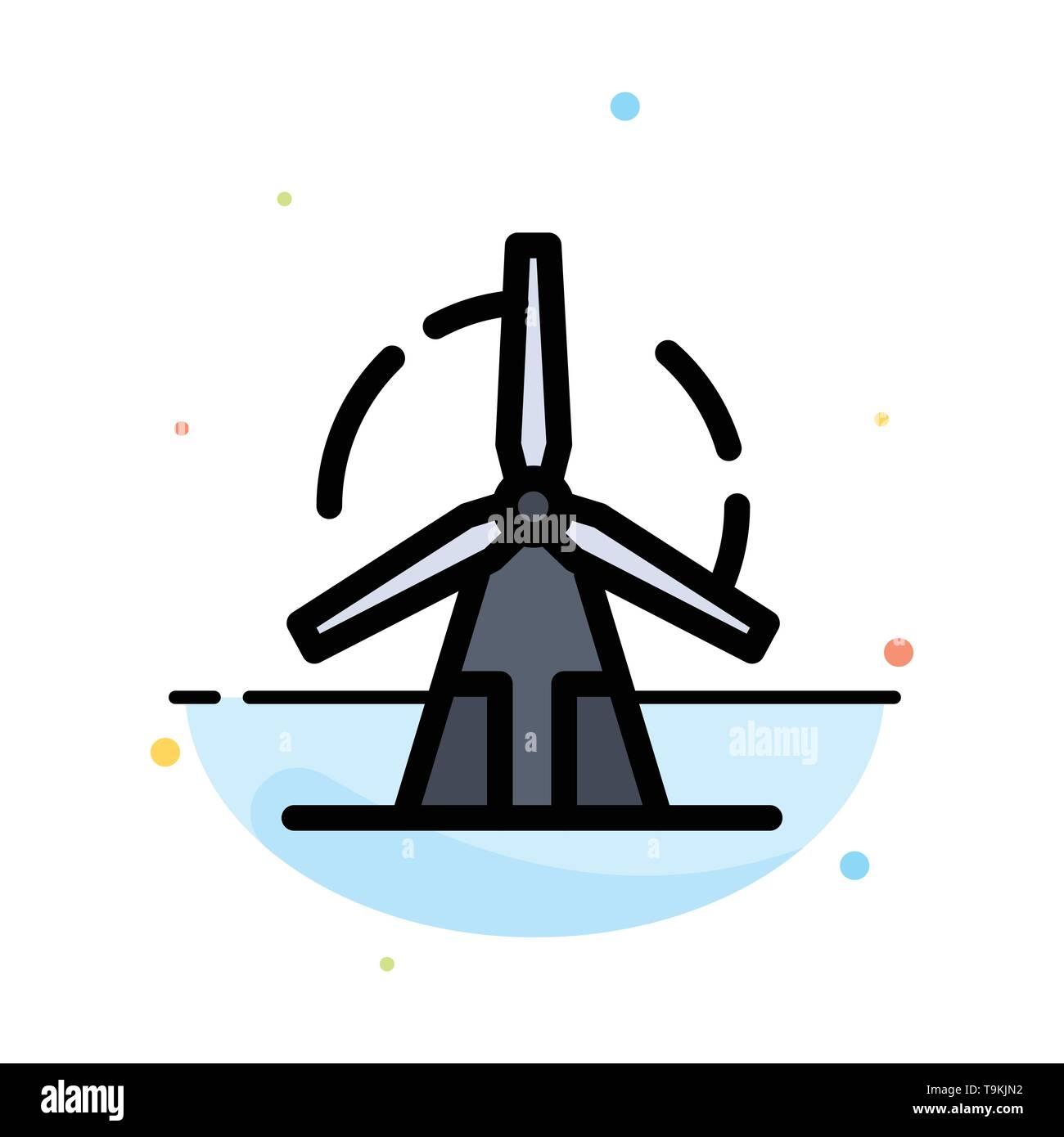 Sauber, Energie, Grüne, Power, Windmühle Abstrakte flachen Farbe Symbol Vorlage Stockbild