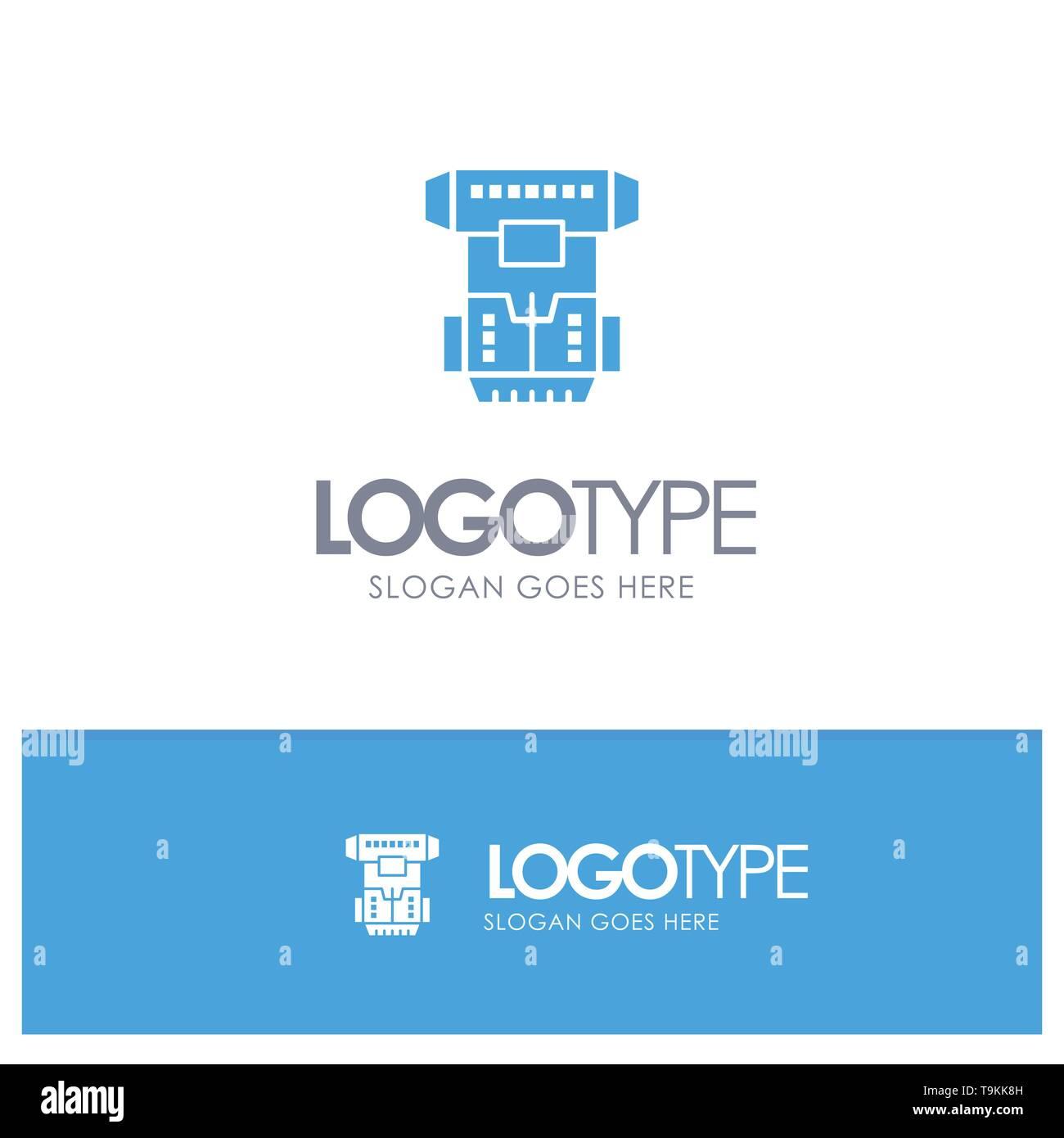 Box, Kammer, kryogene, Kryonik, Kryotherapie Blue Solid Logo mit Slogan Stockbild