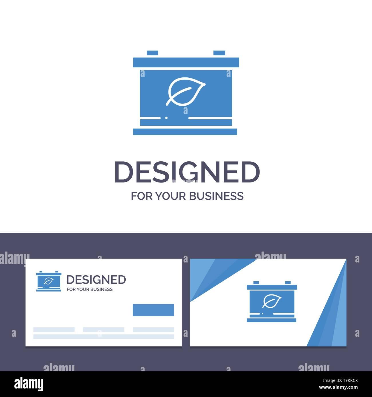 Creative Business Card und Logo Vorlage Batterie, Speichern, grüne Vector Illustration Stockbild