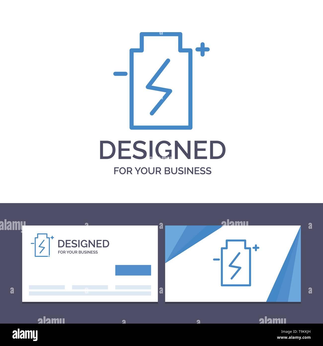 Creative Business Card und Logo Vorlage Batterie, Eco, Ökologie, Energie, Umwelt Vector Illustration Stockbild