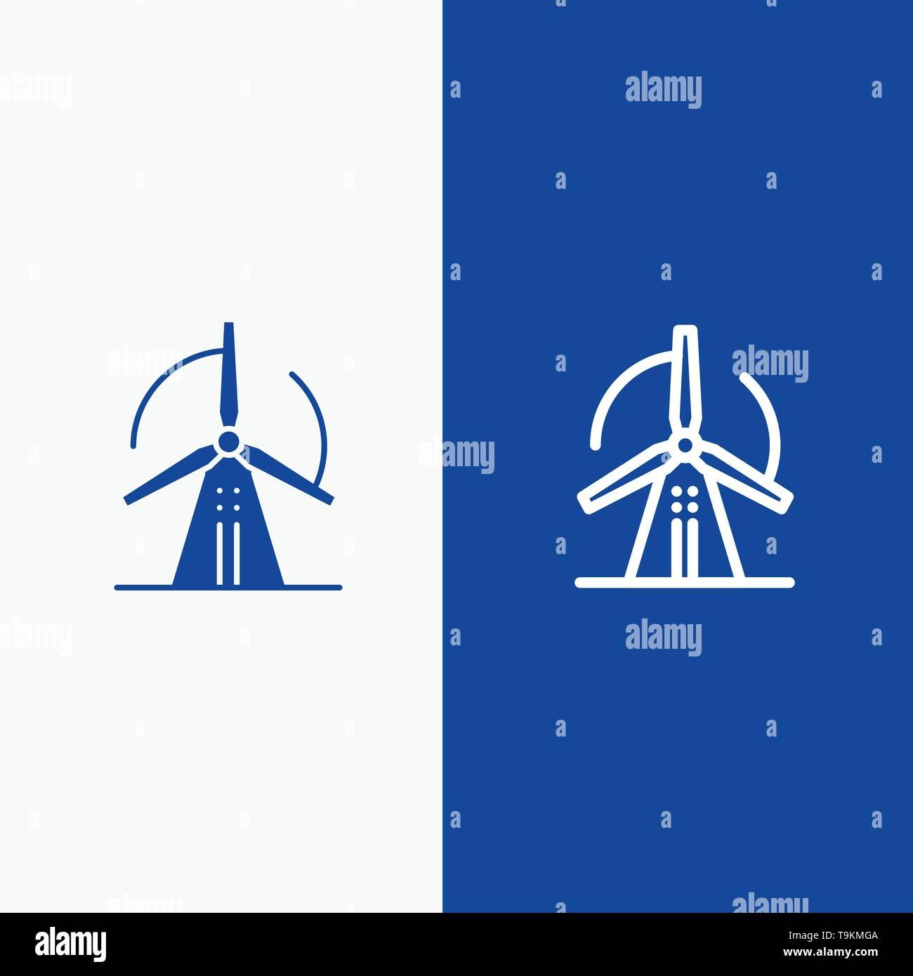 Turbine, Wind, Energie, Power Line und Glyphe feste Symbol blau Banner und Glyphe feste Symbol blau Banner Stockbild