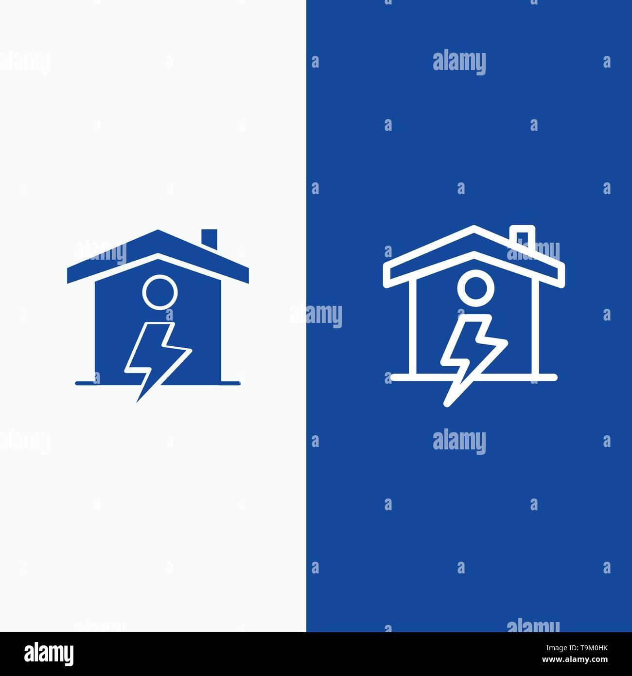 Heim, Haus, Energie, Power Line und Glyphe feste Symbol blau Banner und Glyphe feste Symbol blau Banner Stockbild