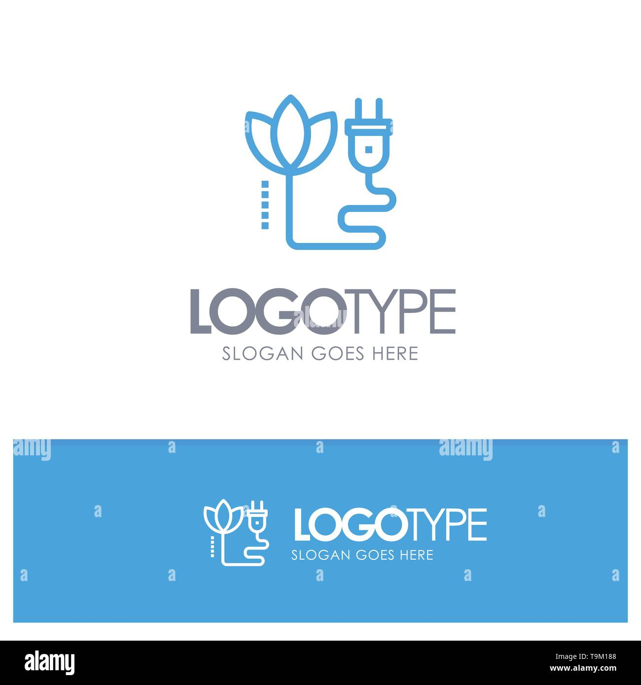 Biomasse, Energie, Kabel, Stecker blau Outline Logo Ort für Slogan Stockbild