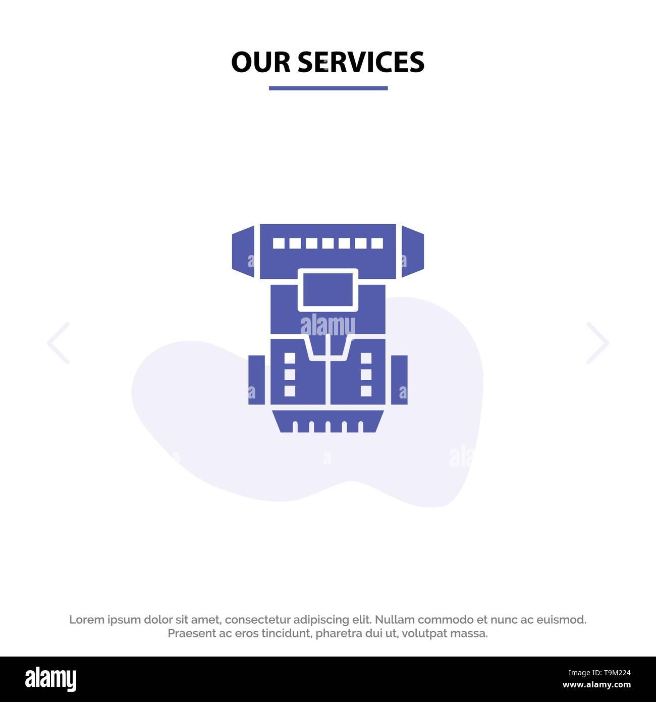 Unsere Dienstleistungen, Kammer, kryogene, Kryonik, Kryotherapie solide Glyph Icon Web Karte Vorlage Stockbild