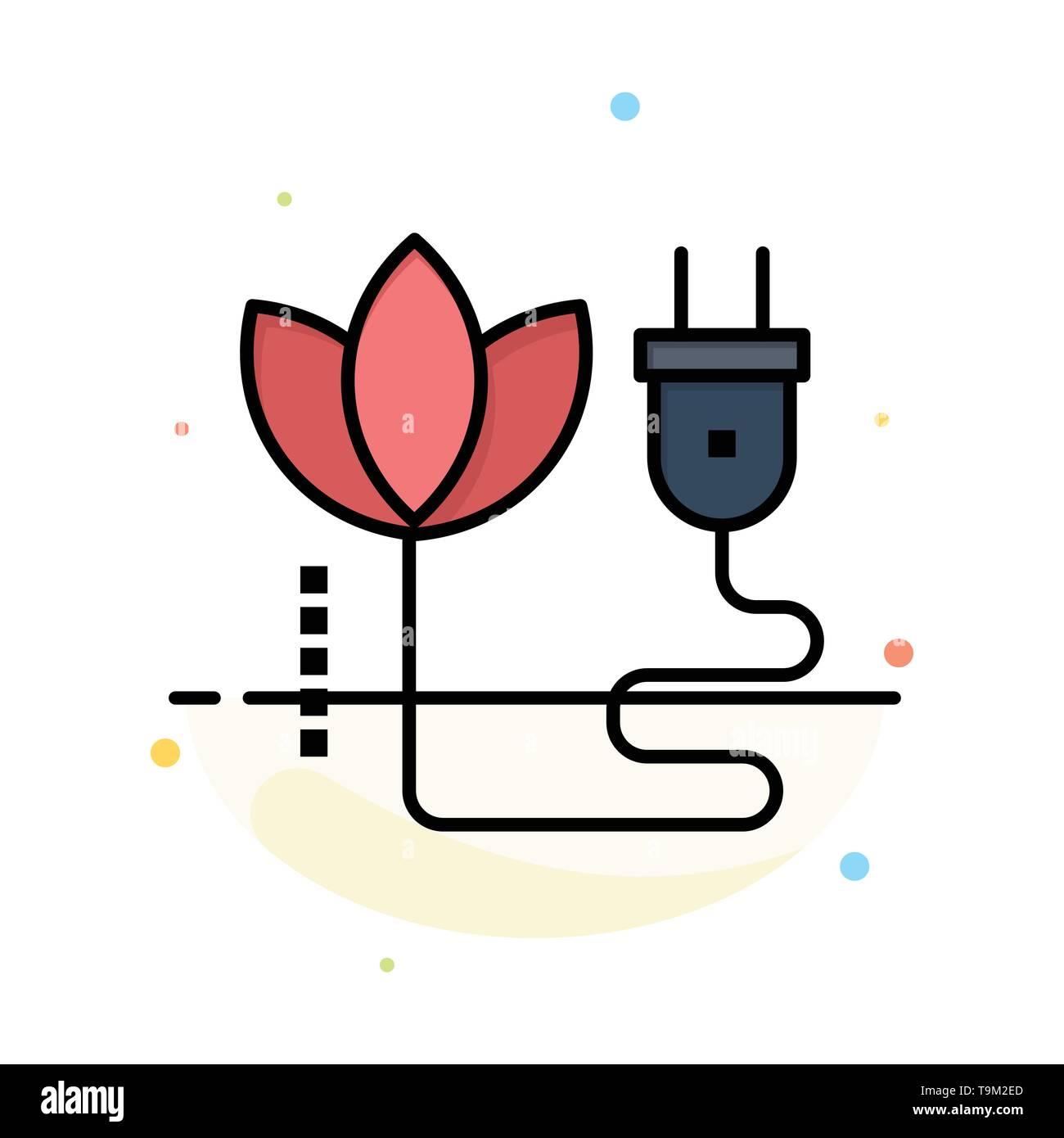 Biomasse, Energie, Kabel, Stecker Abstrakte flachen Farbe Symbol Vorlage Stockbild