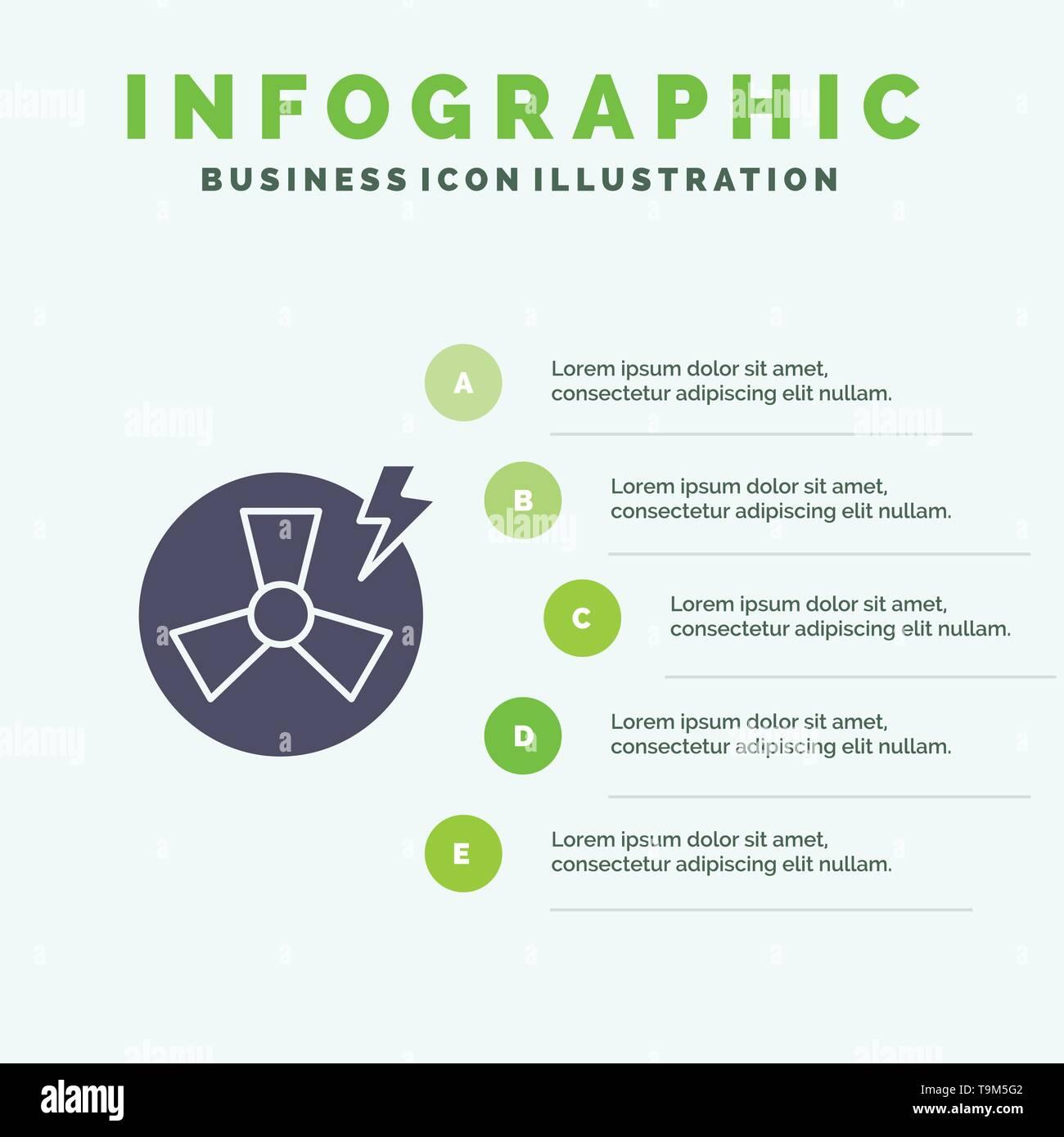Ventilator, Leistung, Energie, Factory Solid Symbol Infografiken 5 Schritte Präsentation Hintergrund Stockbild