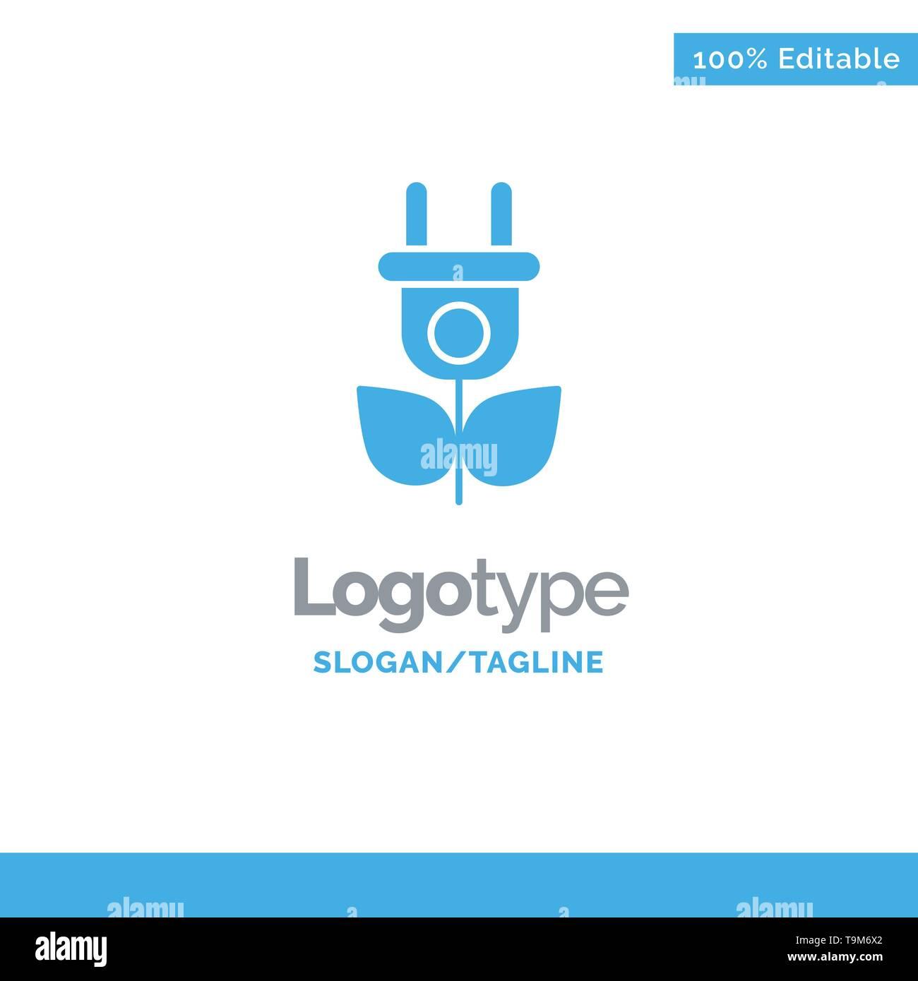 Eco, Strom, Natur Blue Solid Logo Vorlage. Platz für Slogan Stockbild