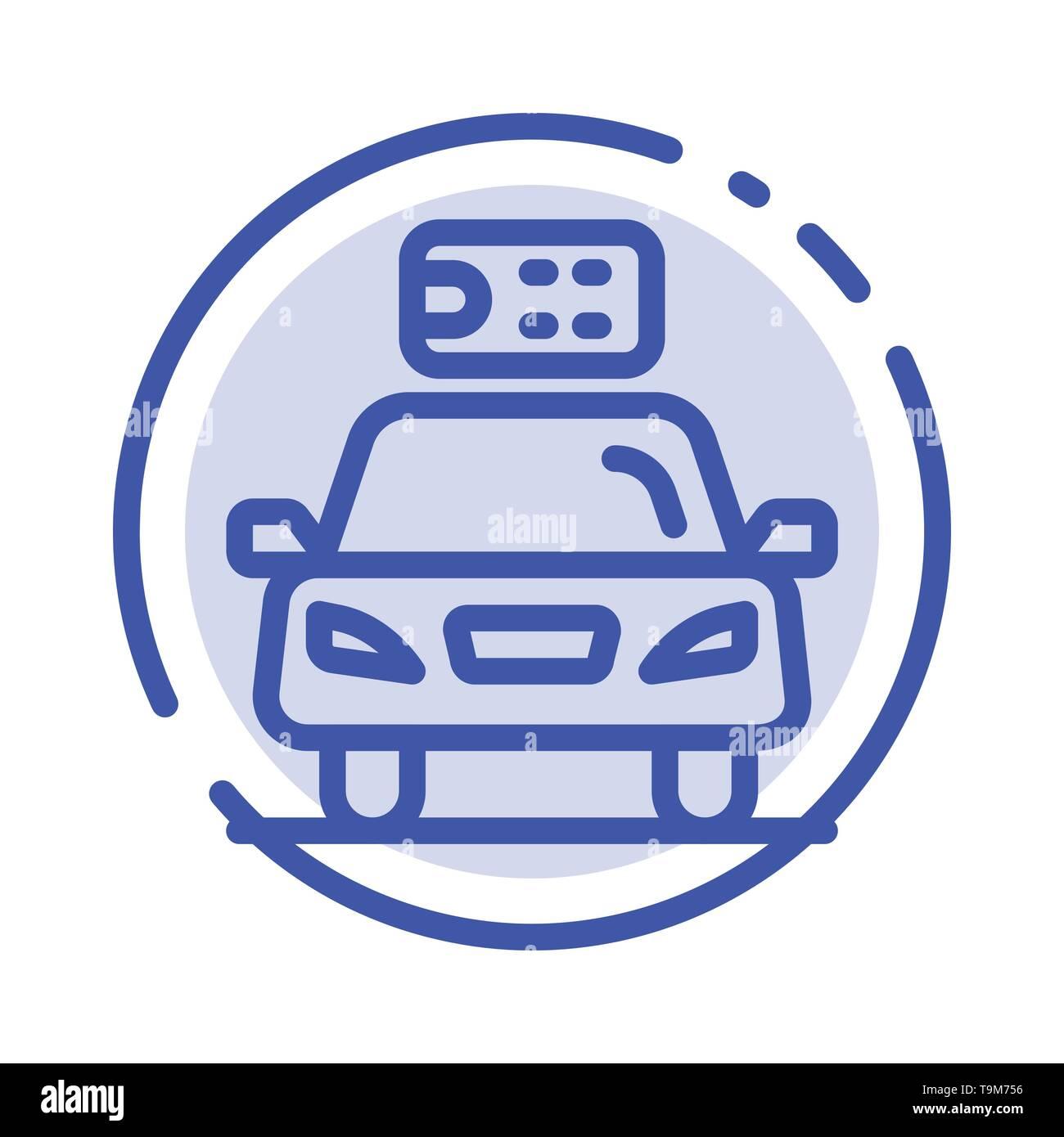 Auto, Ökologie, Strom, Energie, Strom, blau gepunktete Linie Symbol Leitung Stockbild