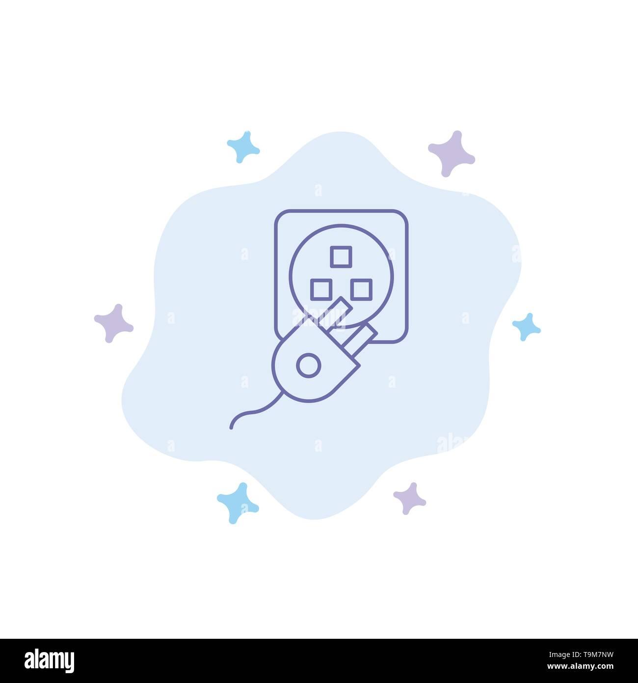 Stecker, Elektrische, Elektro, Kabel, blaues Symbol auf Abstrakten Cloud Hintergrund Stockbild
