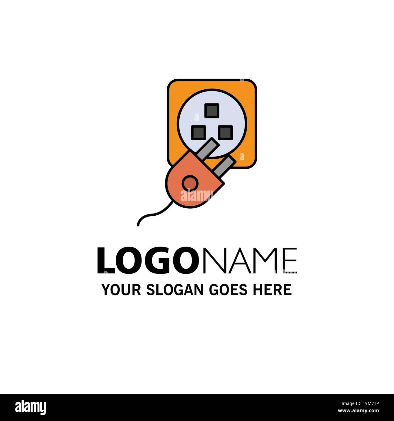 Stecker, elektrisch, Elektrische, Netzkabel, kostenlos Business Logo Vorlage. Flachen Farbe Stockbild