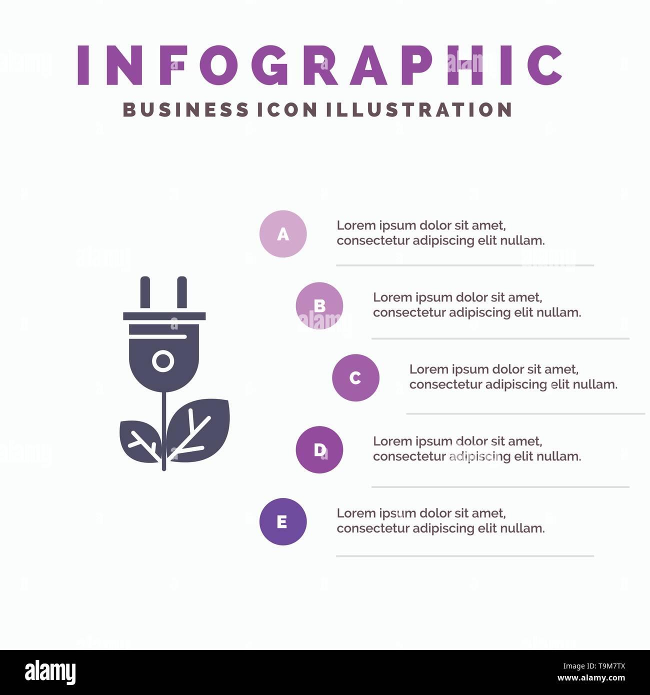 Biomasse, Energie, Stecker, Stromversorgung Solid Symbol Infografiken 5 Schritte Präsentation Hintergrund Stockbild