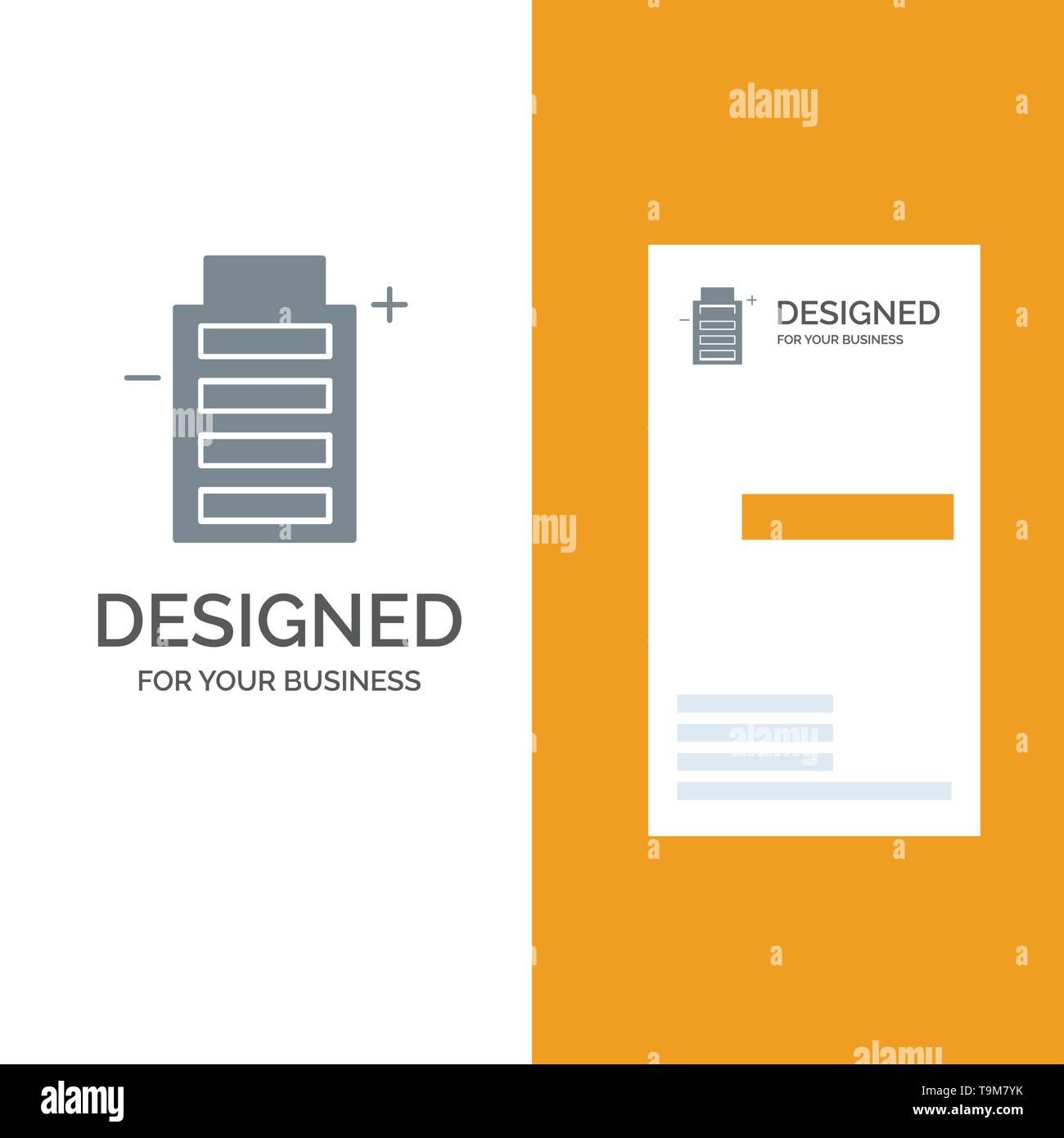 Batterie, Ökologie, Energie, Umwelt Grau Logo Design und Business Card Template Stockbild