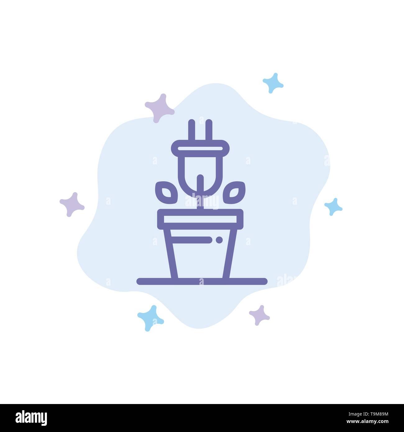 Stecker, Pflanze, Technik blaues Symbol auf Abstrakten Cloud Hintergrund Stockbild
