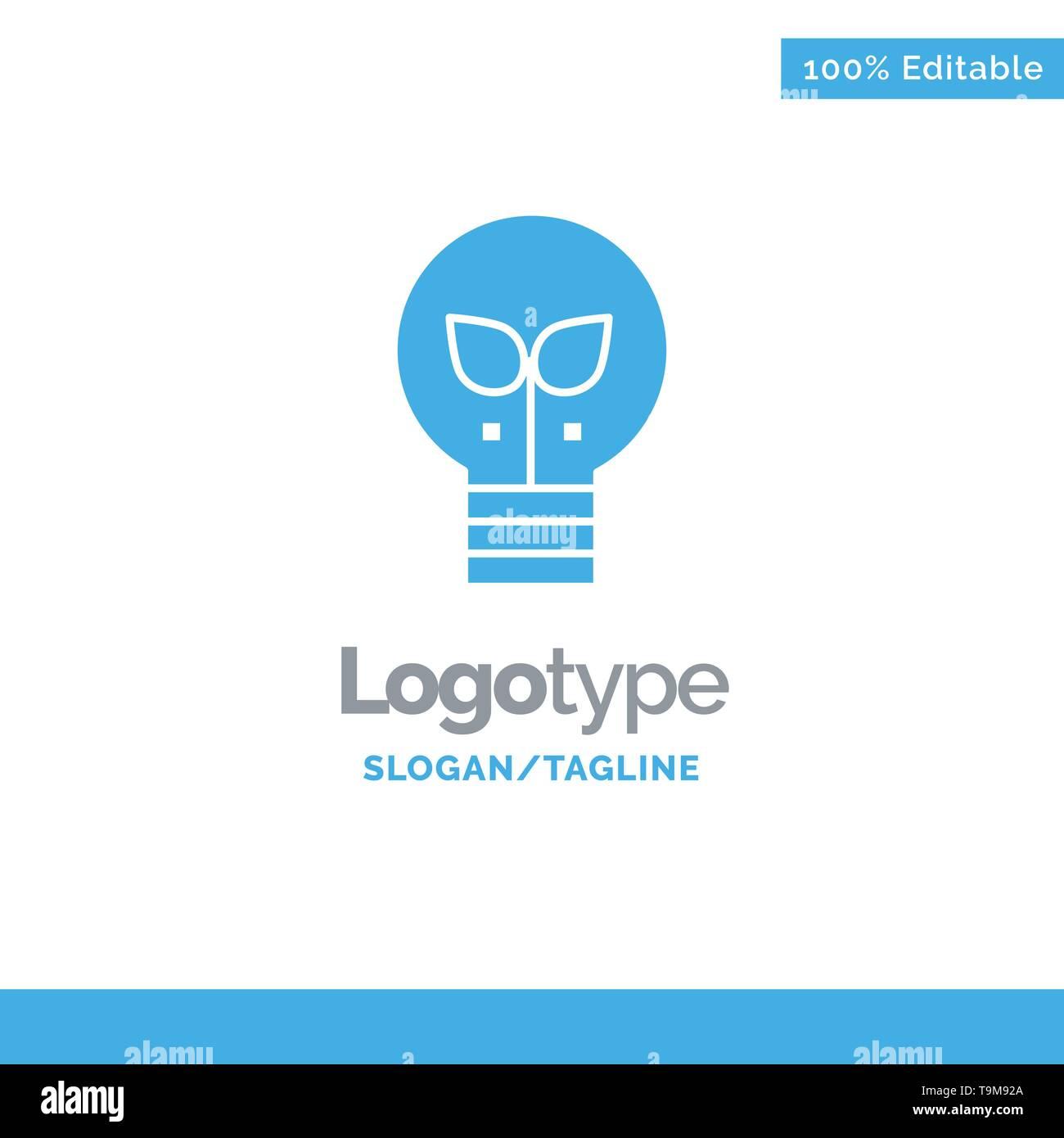 Eco, Idee, Lampe, Hellblau feste Logo Vorlage. Platz für Slogan Stockbild