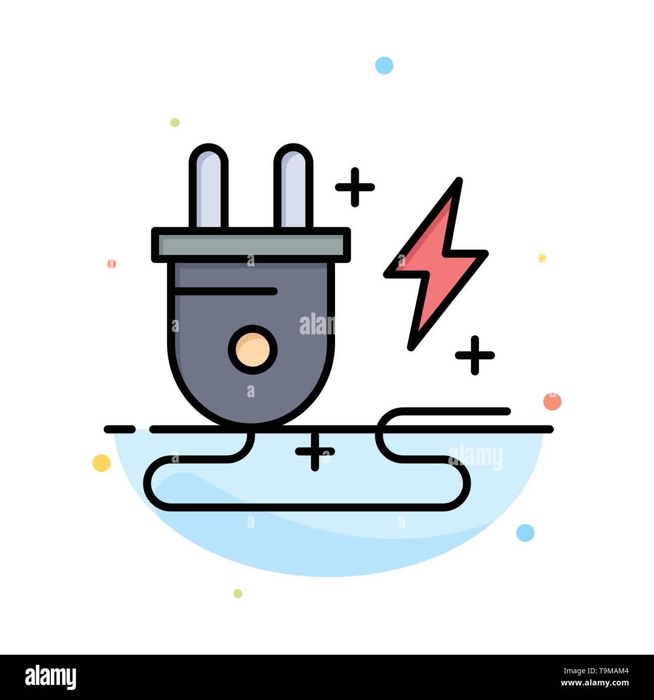 Energie, Stecker, Stromversorgung, Natur abstrakt flachen Farbe Symbol Vorlage Stockbild
