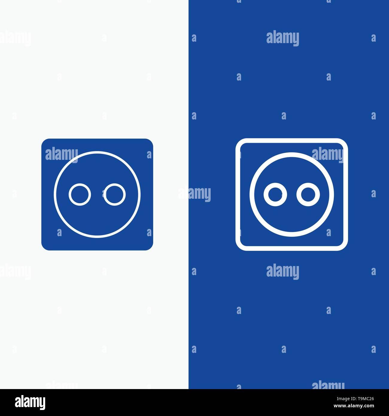 Bannerrotation, Eco, Energie, Power Line und Glyphe feste Symbol blau Banner und Glyphe feste Symbol blau Banner Stockbild