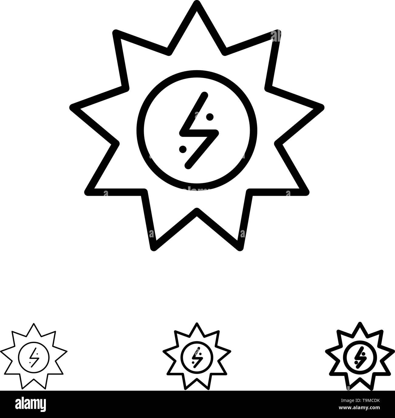Energie, Solar, Energie, macht Fett und dünne schwarze Linie Icon Set Stockbild