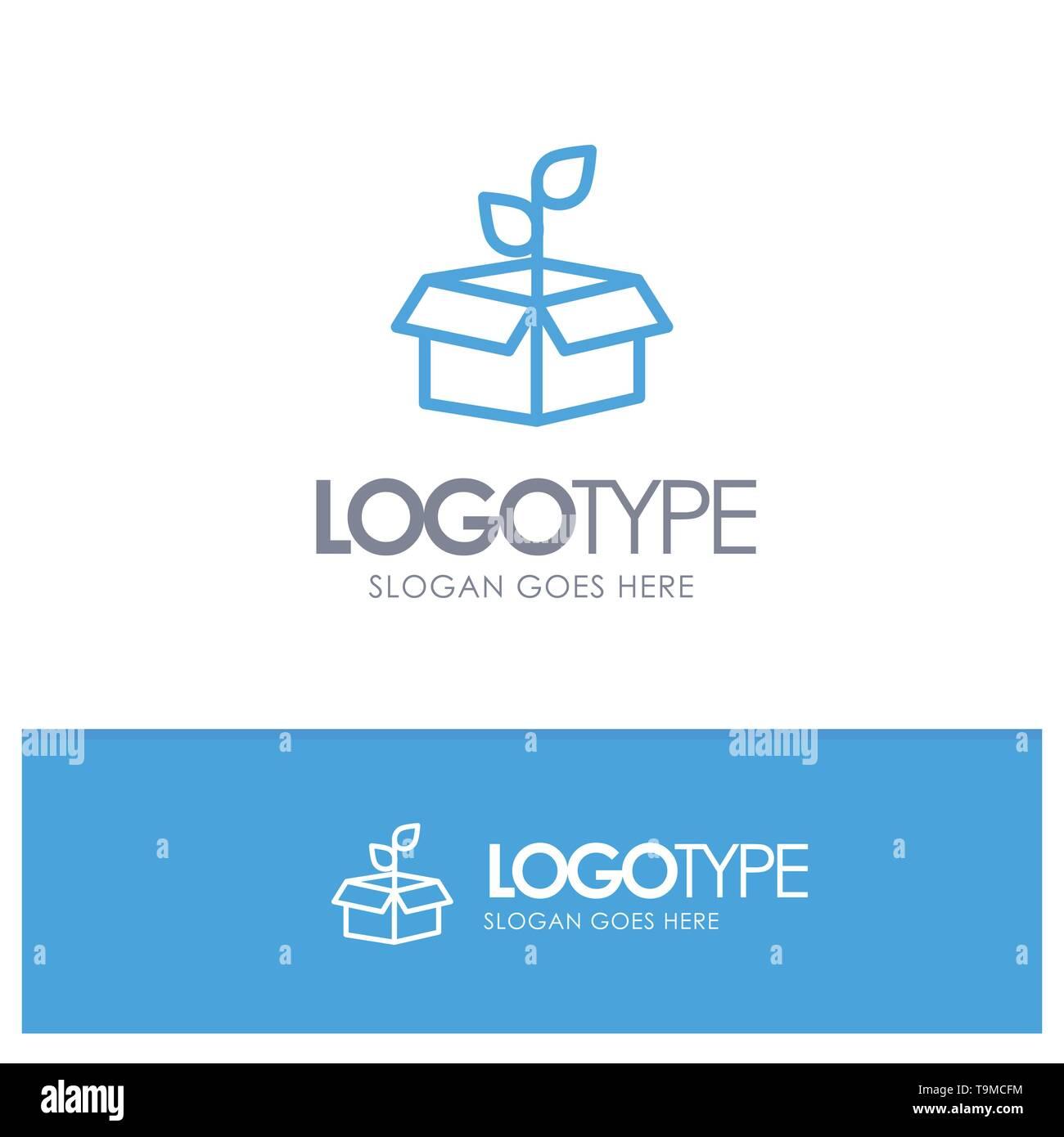 Eco, Ökologie, Energie, Anlagen, blauer Rahmen Logo Ort für Slogan Stockbild