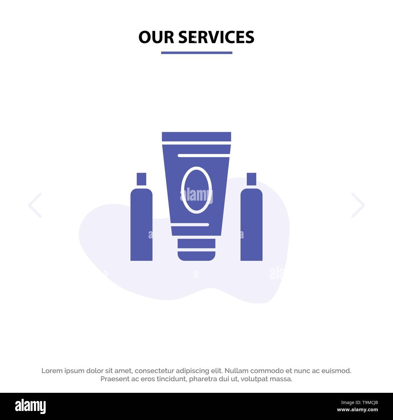 Unsere Dienstleistungen Sport, Creme, Medical, Healthcare solide Glyph Icon Web Karte Vorlage Stockbild