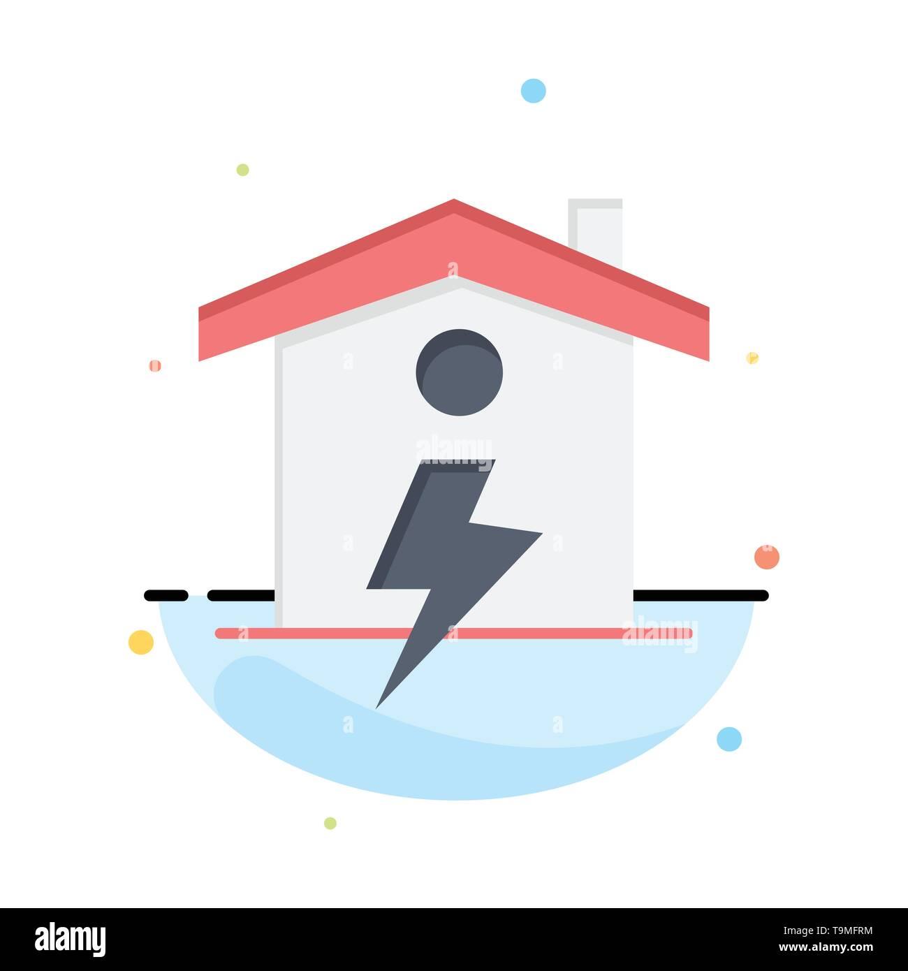Heim, Haus, Energie, Power Abstrakte flachen Farbe Symbol Vorlage Stockbild