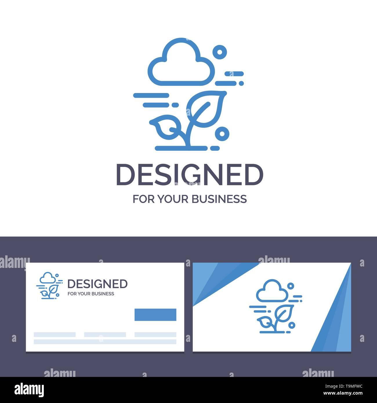 Creative Business Card und Logo Vorlage Anlage, Cloud, Blatt, Technologie Vector Illustration Stockbild
