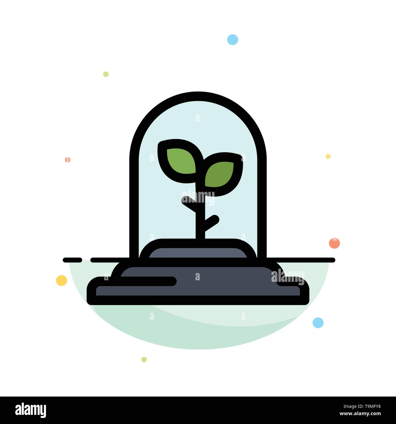 Technologie, Blatt, Pflanze Abstrakte flachen Farbe Symbol Vorlage Stockbild