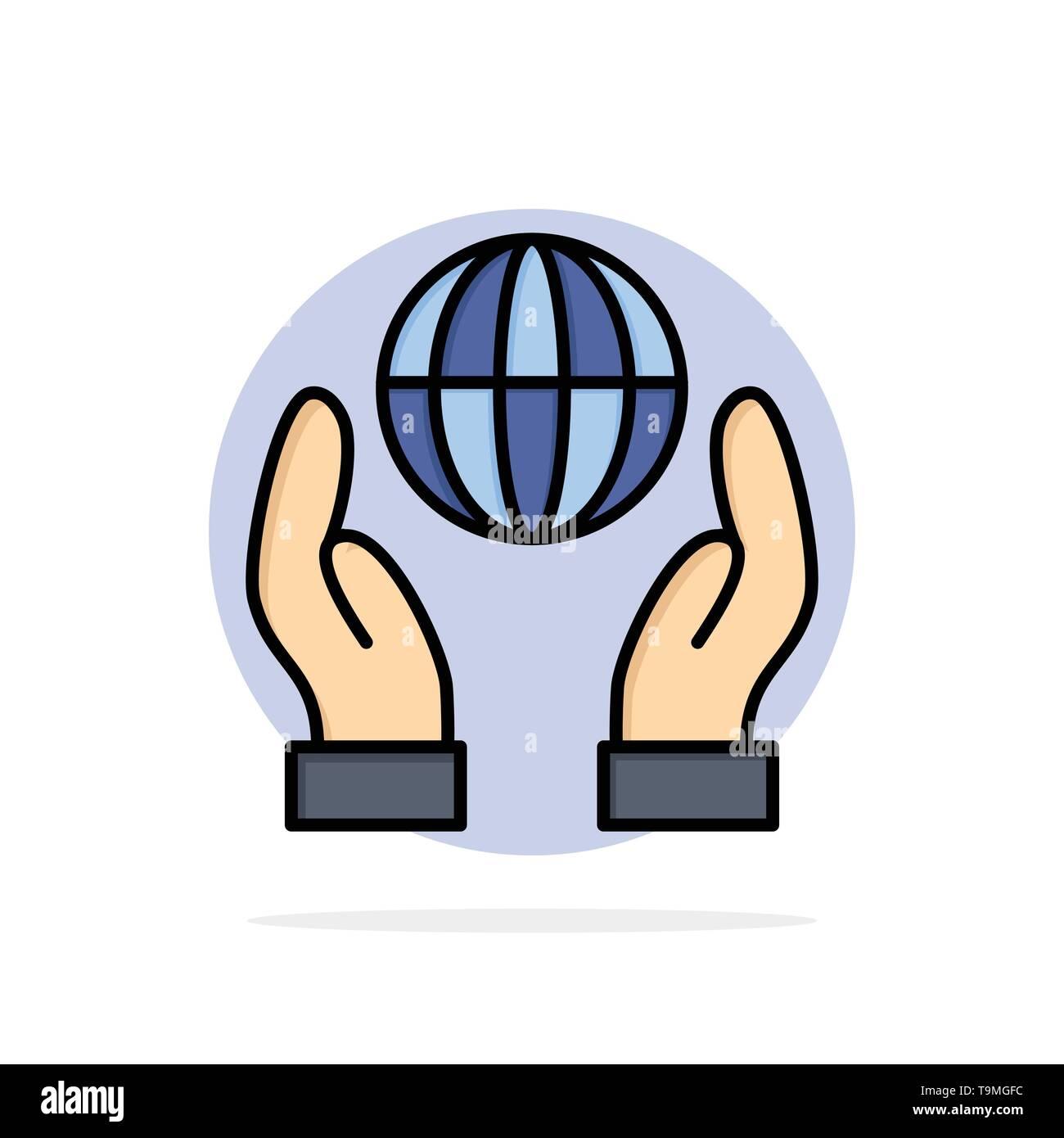 Biosphäre, Naturschutz, Energie, Strom abstrakten Kreis Hintergrund flachen Farbe Symbol Stockbild