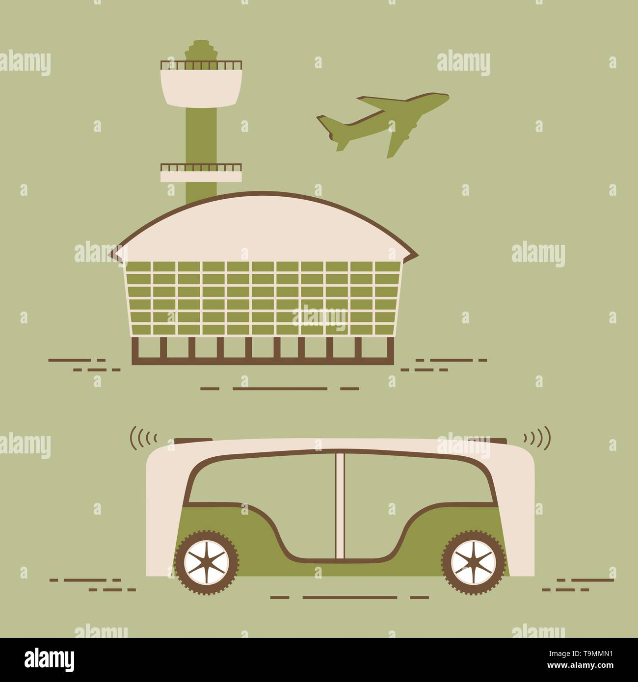 Selbstfahrer Transport der Passagiere zum Flughafen. Automatisierte Bus, autonome Fahrzeug, fahrerlose Bus. Den wissenschaftlichen und technischen Fortschritt. Neue techn Stockbild